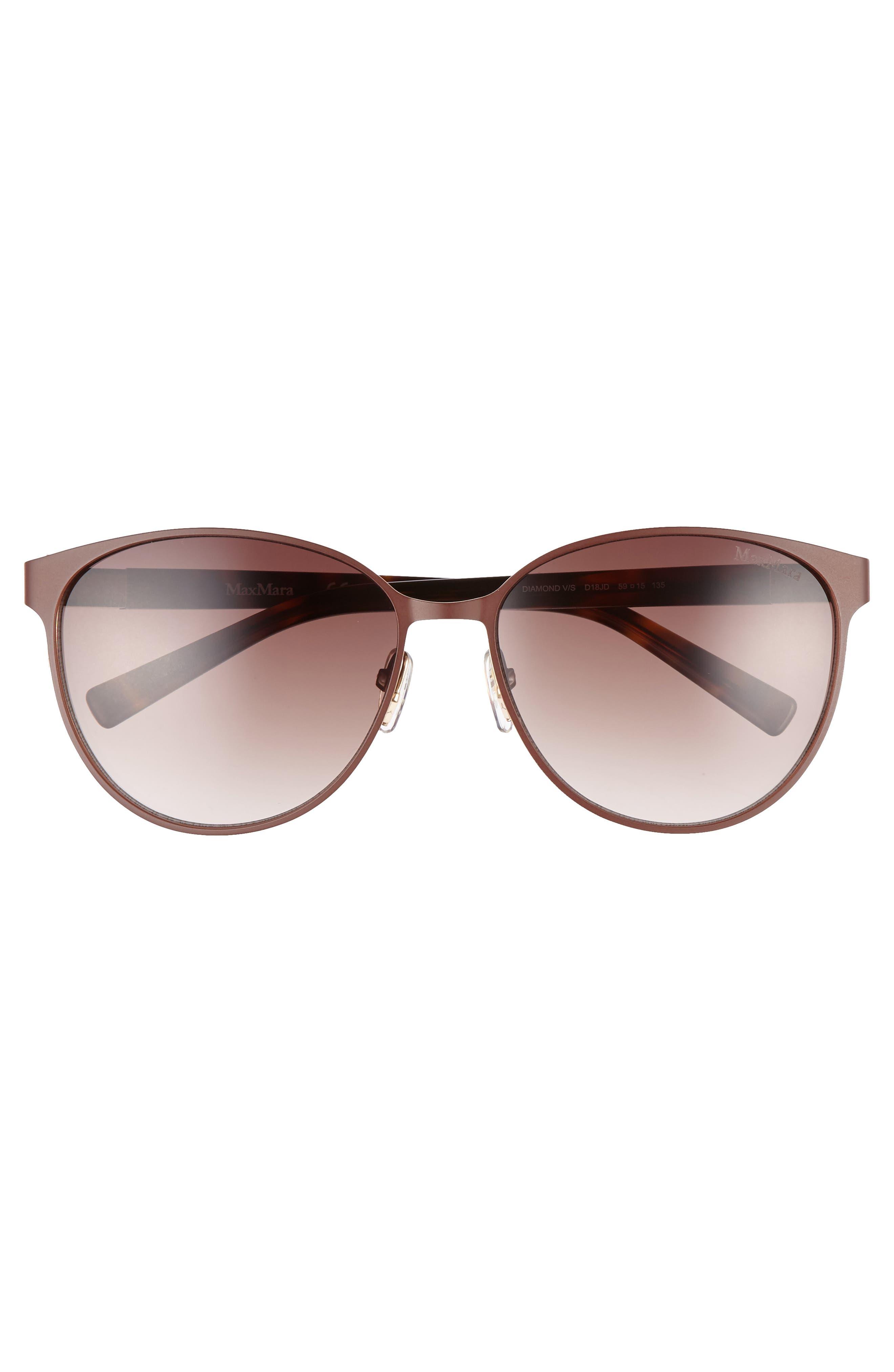 Diamov 59mm Gradient Cat Eye Sunglasses,                             Alternate thumbnail 3, color,                             Matte Brown