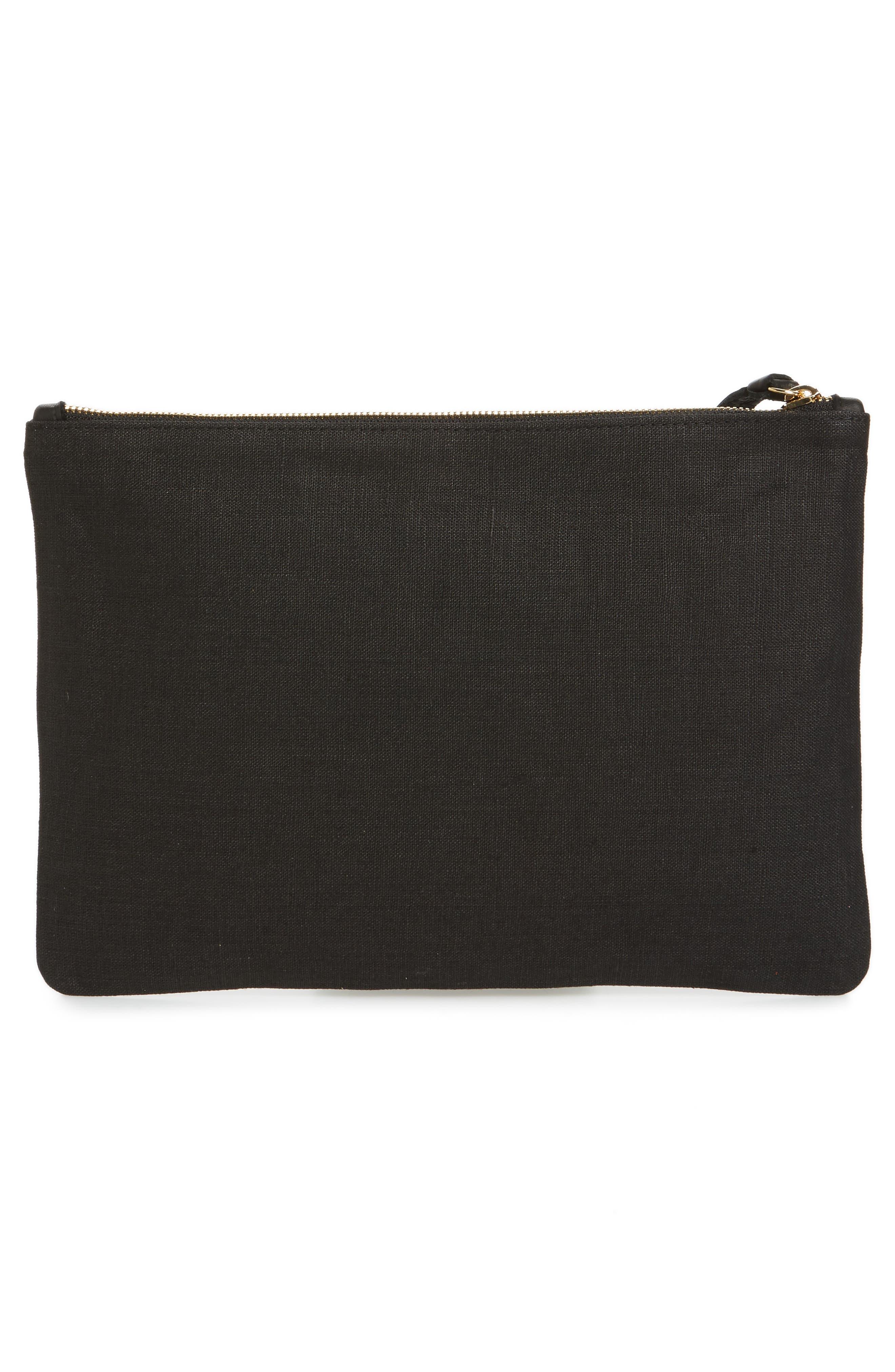 Bougainvillea Linen Clutch,                             Alternate thumbnail 2, color,                             Black Linen With Pink