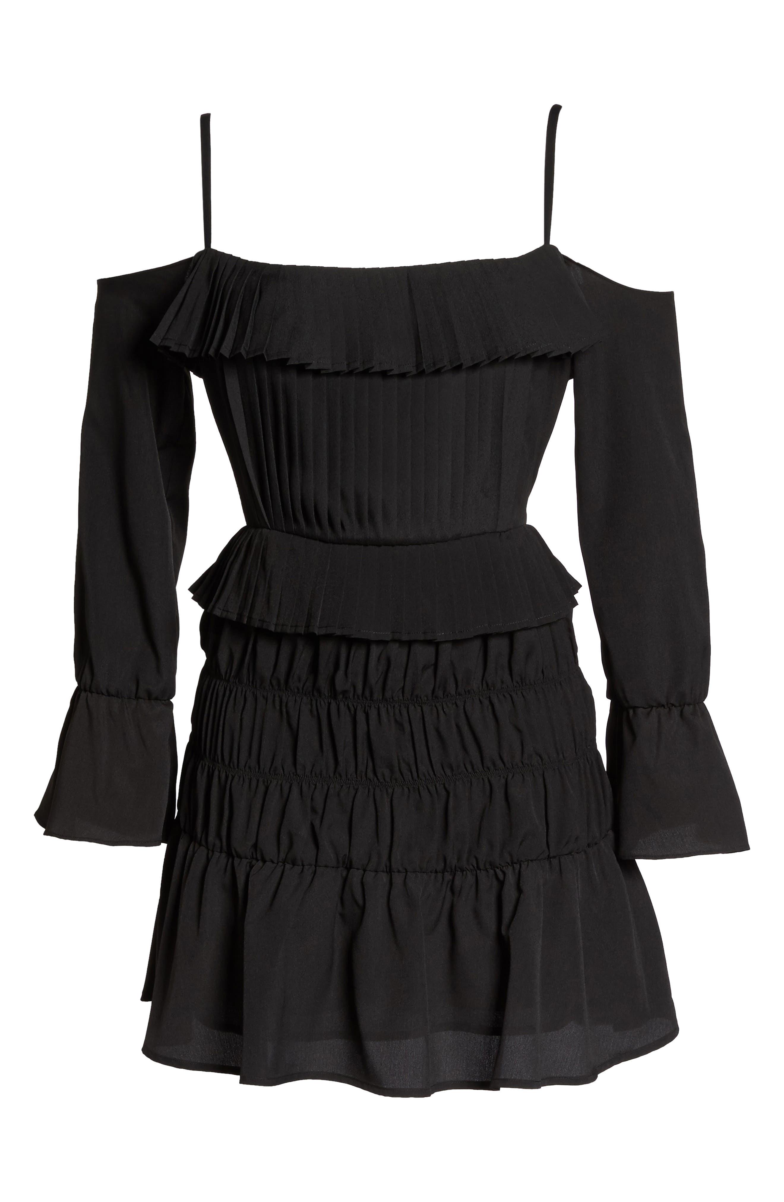 Plissé Off the Shoulder Dress,                             Alternate thumbnail 6, color,                             Black