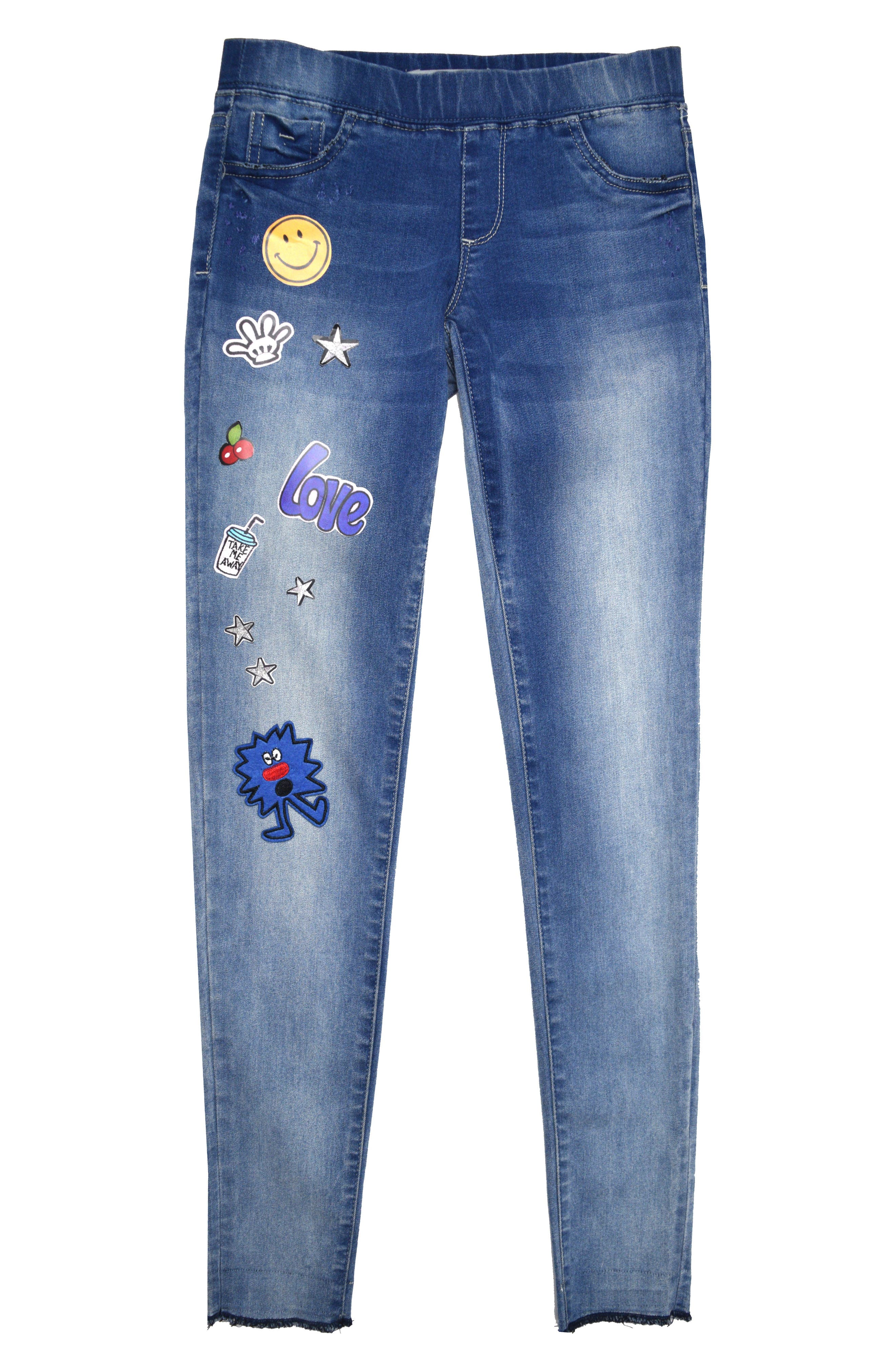 Patches Pull On Skinny Jeans,                             Main thumbnail 1, color,                             Light Indigo