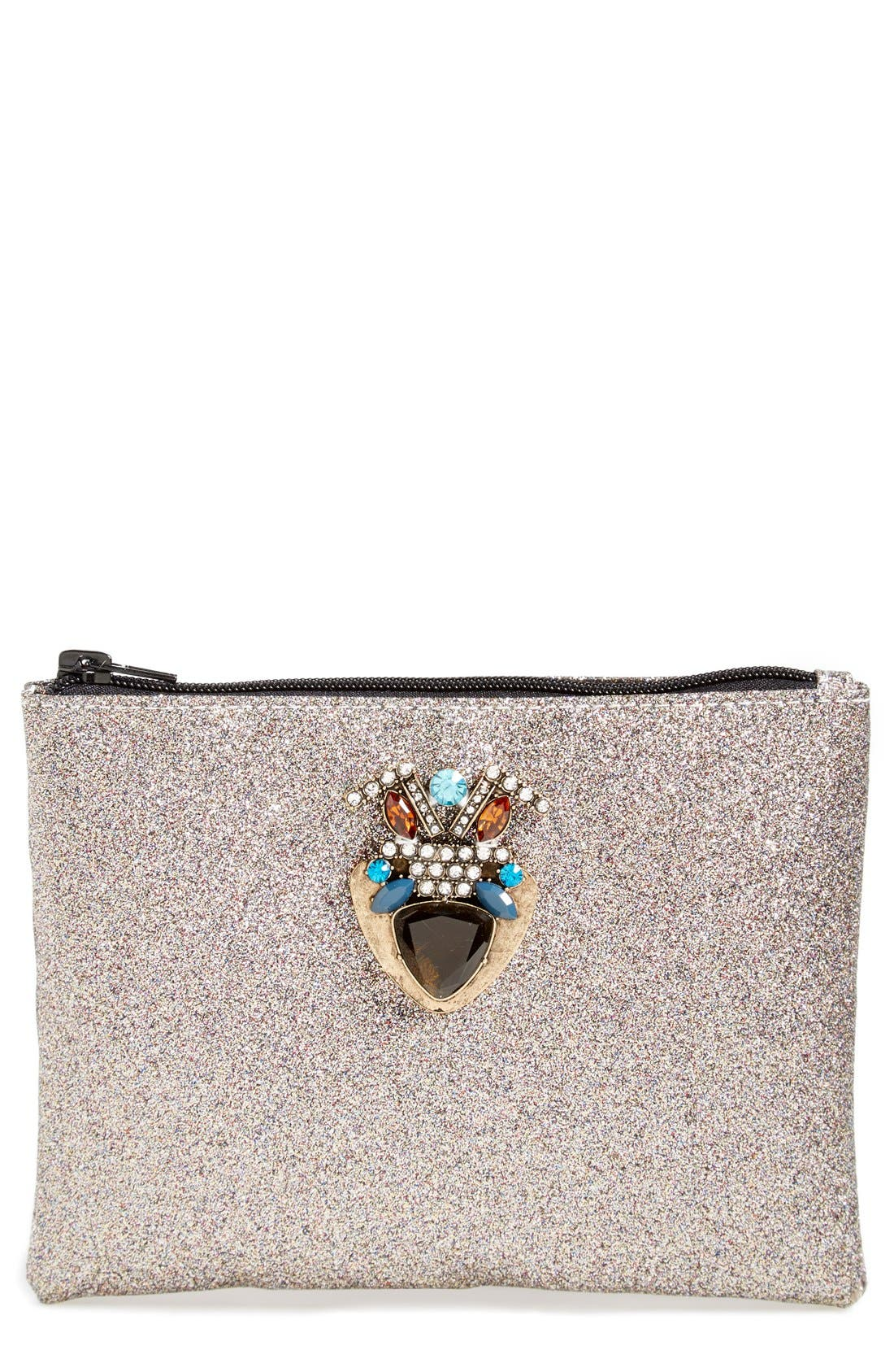 Alternate Image 1 Selected - Berry Embellished Glitter Clutch