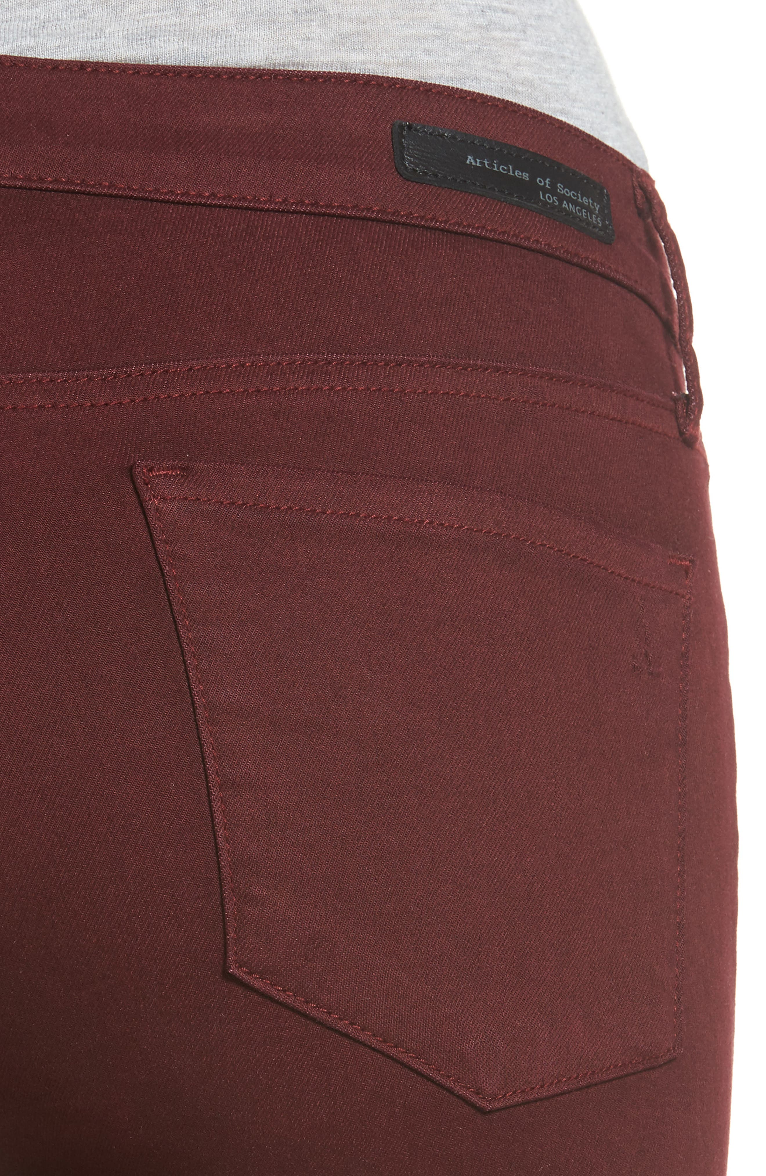 Alternate Image 4  - Articles of Society Sarah Skinny Jeans (Red Eye)
