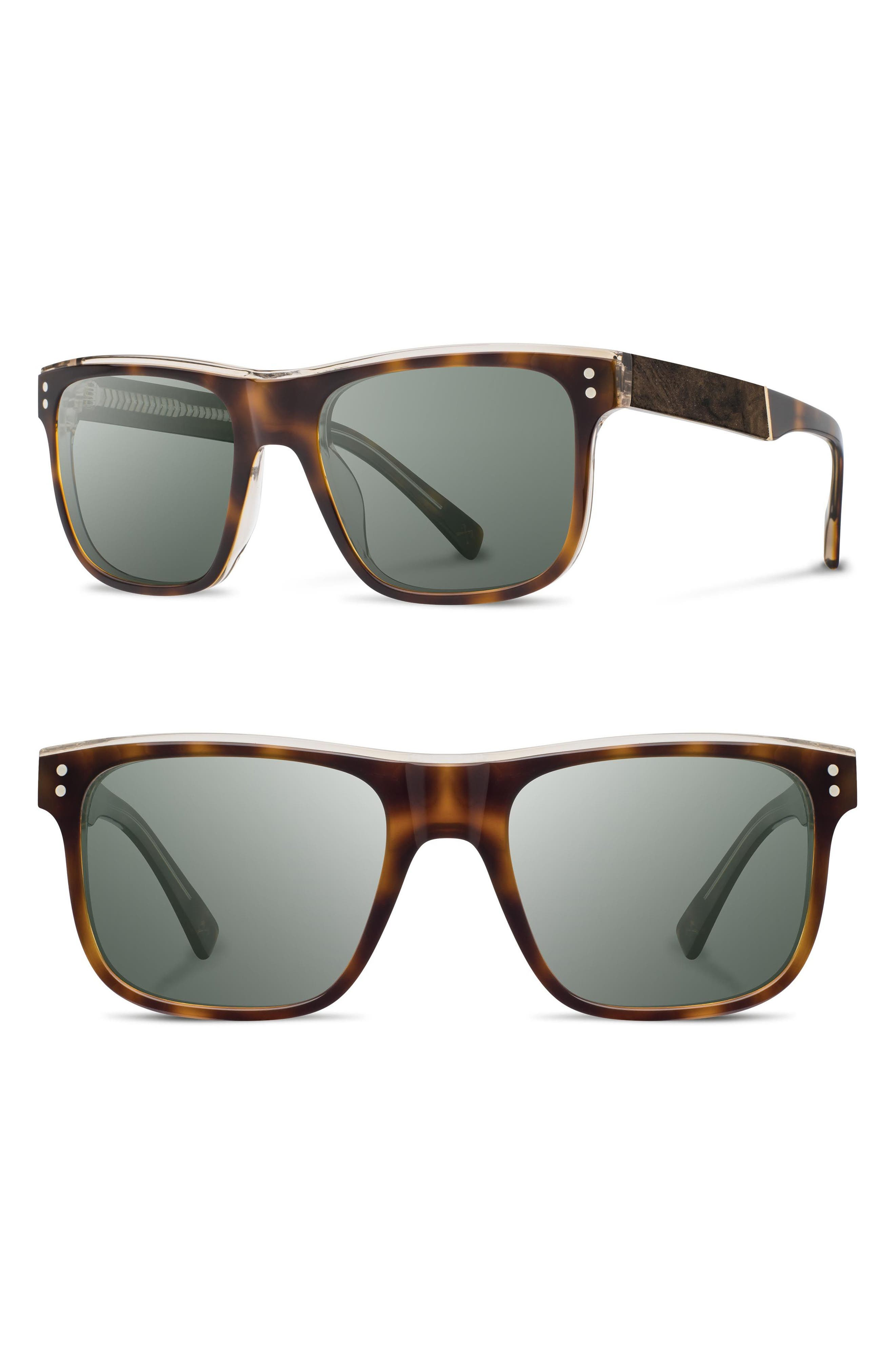 Monroe 55mm Polarized Sunglasses,                         Main,                         color, Brindle/ Elm/ G15pol