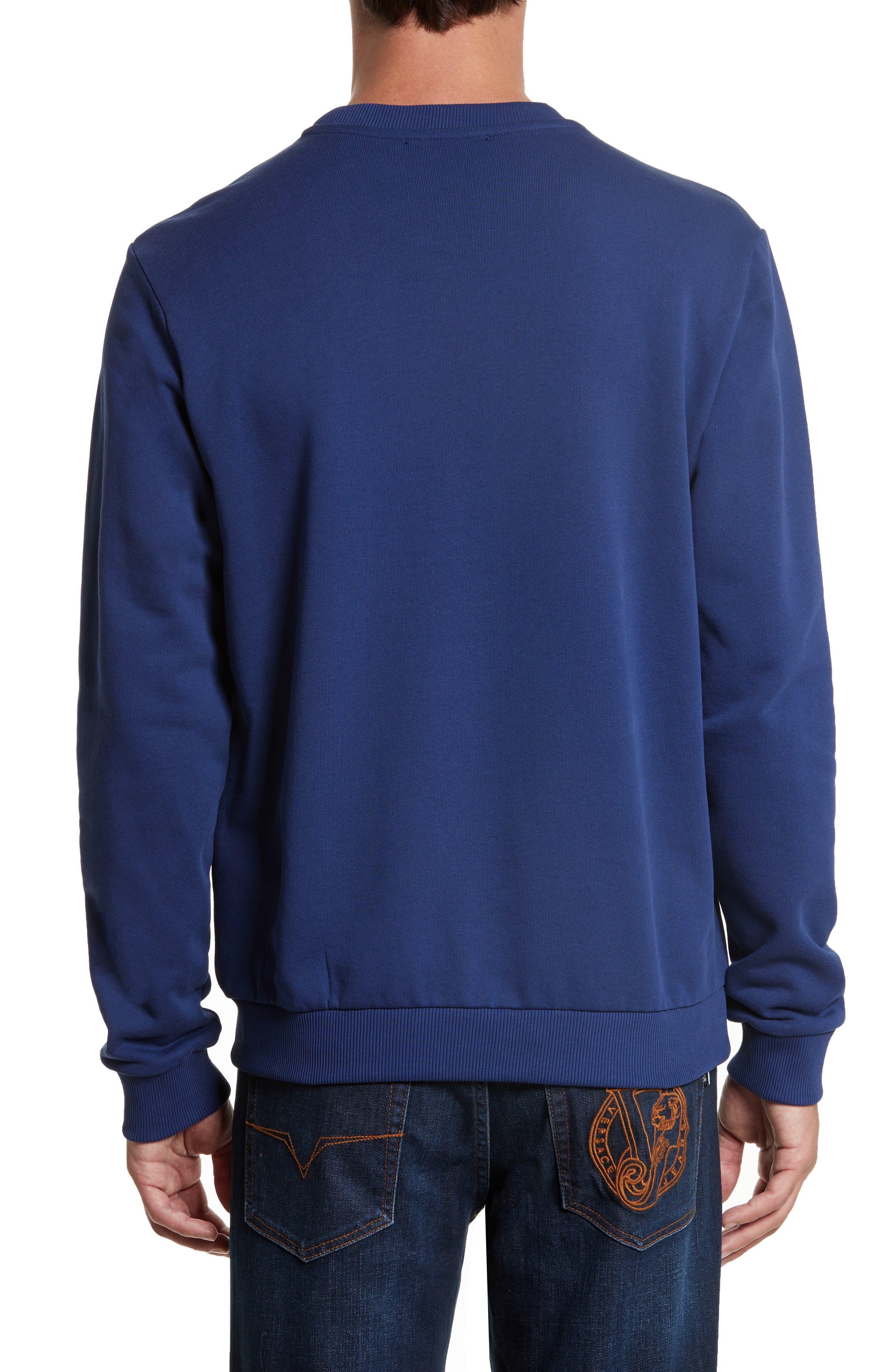 Embroidered Crewneck Sweatshirt,                             Alternate thumbnail 2, color,                             Blue