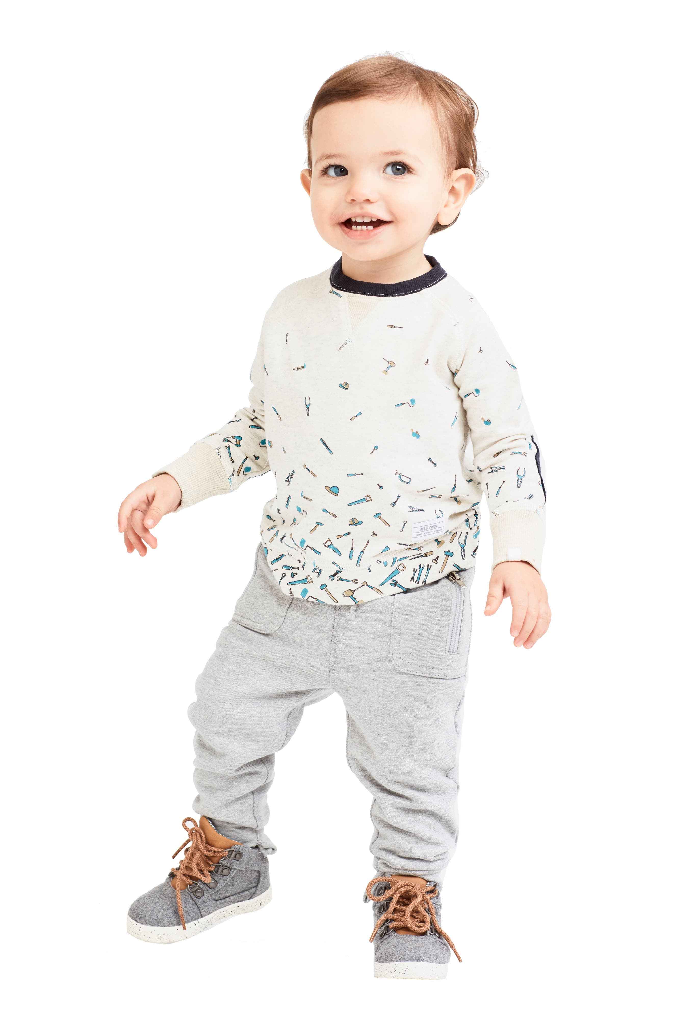 Alternate Image 2  - Art & Eden Mini Samuel Organic Cotton Sweatshirt (Baby Boys)
