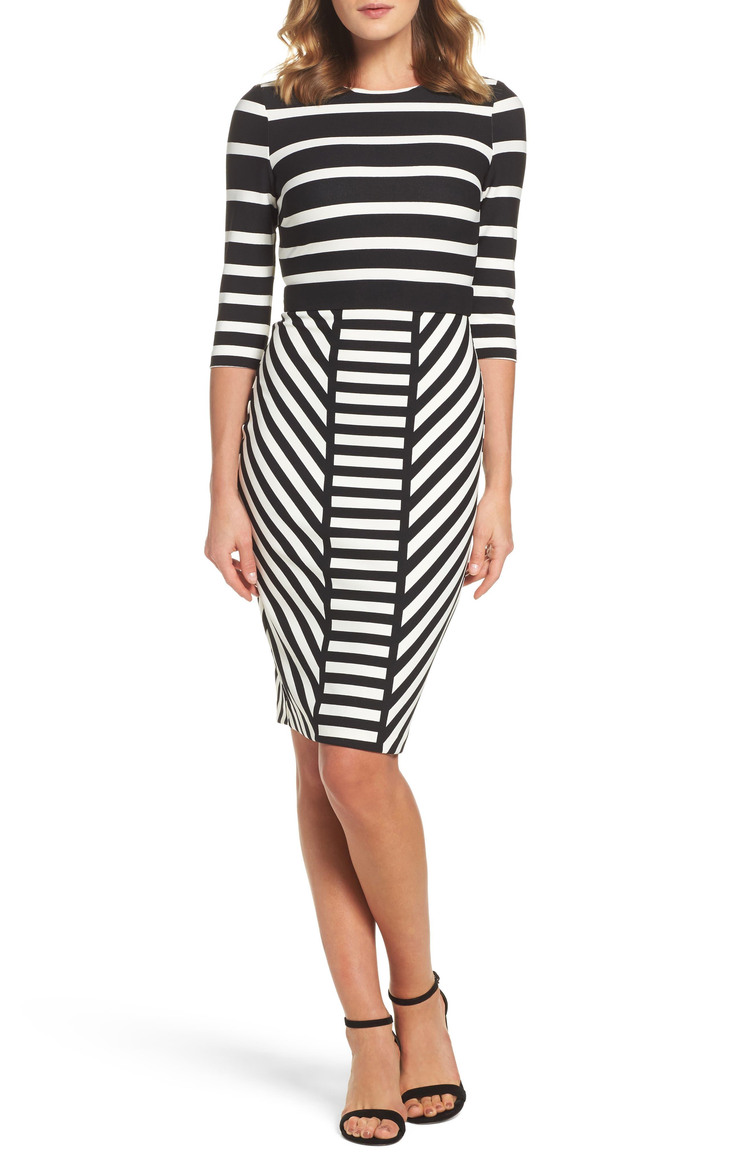Stripe Sheath Dress,                         Main,                         color, Black/ Beige