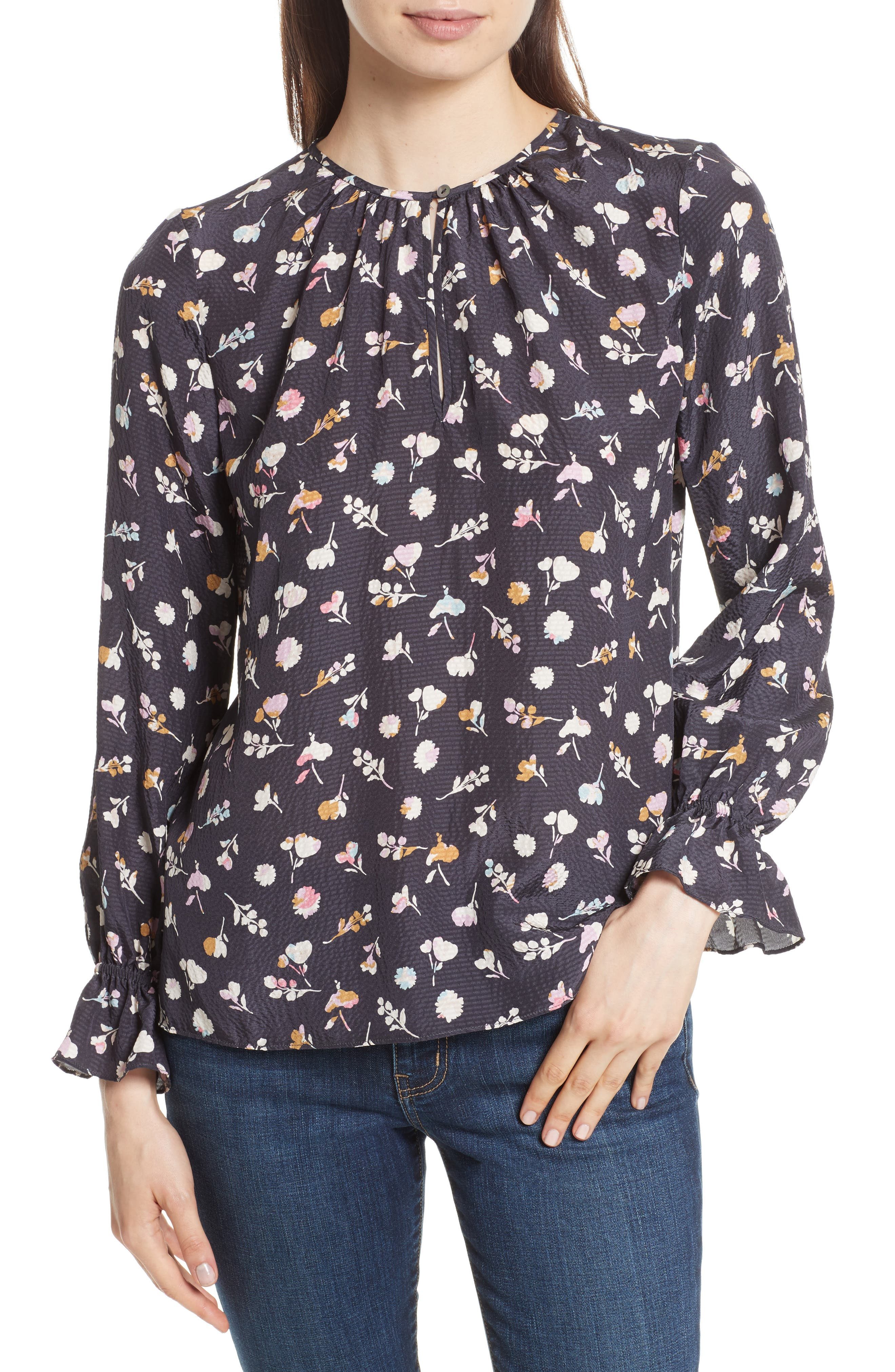 Rebecca Taylor Holly Flower Silk Blouse