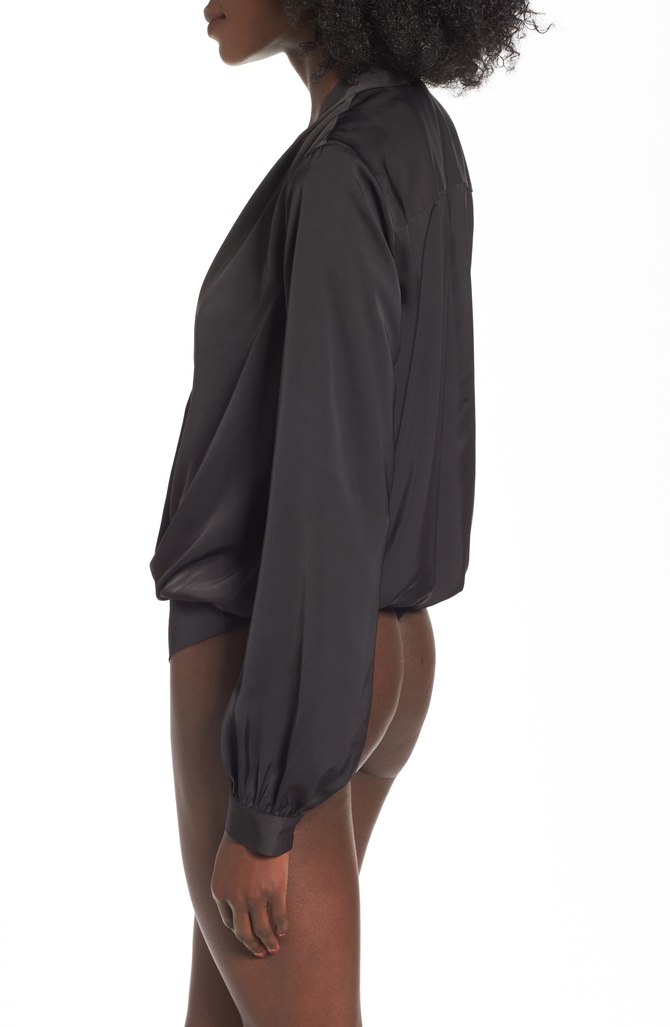 L'Academie The Long Sleeve Bodysuit,                             Alternate thumbnail 2, color,                             Black