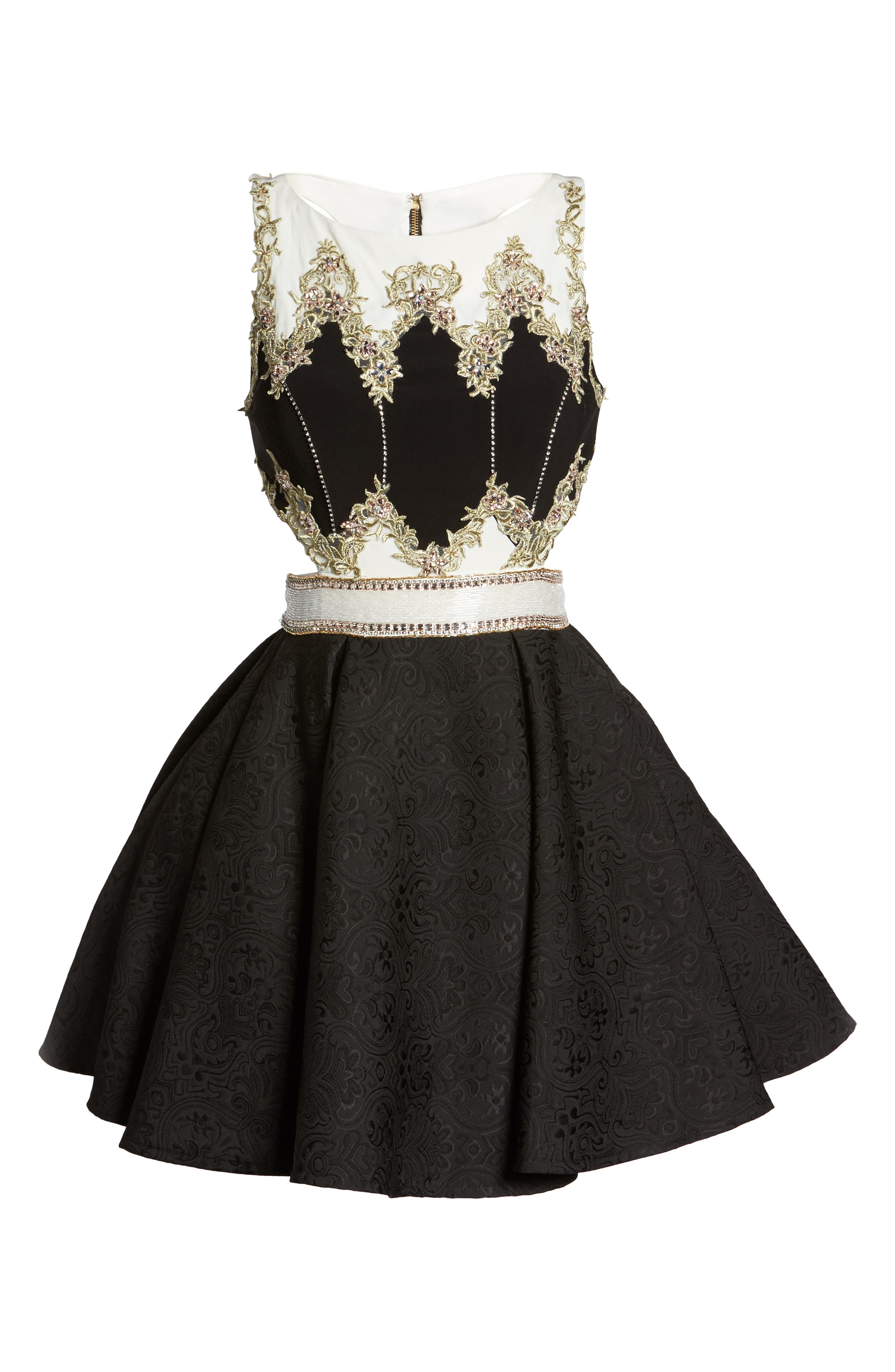 Embellished Cutout Back Cocktail Dress,                             Alternate thumbnail 6, color,                             Black Ivory