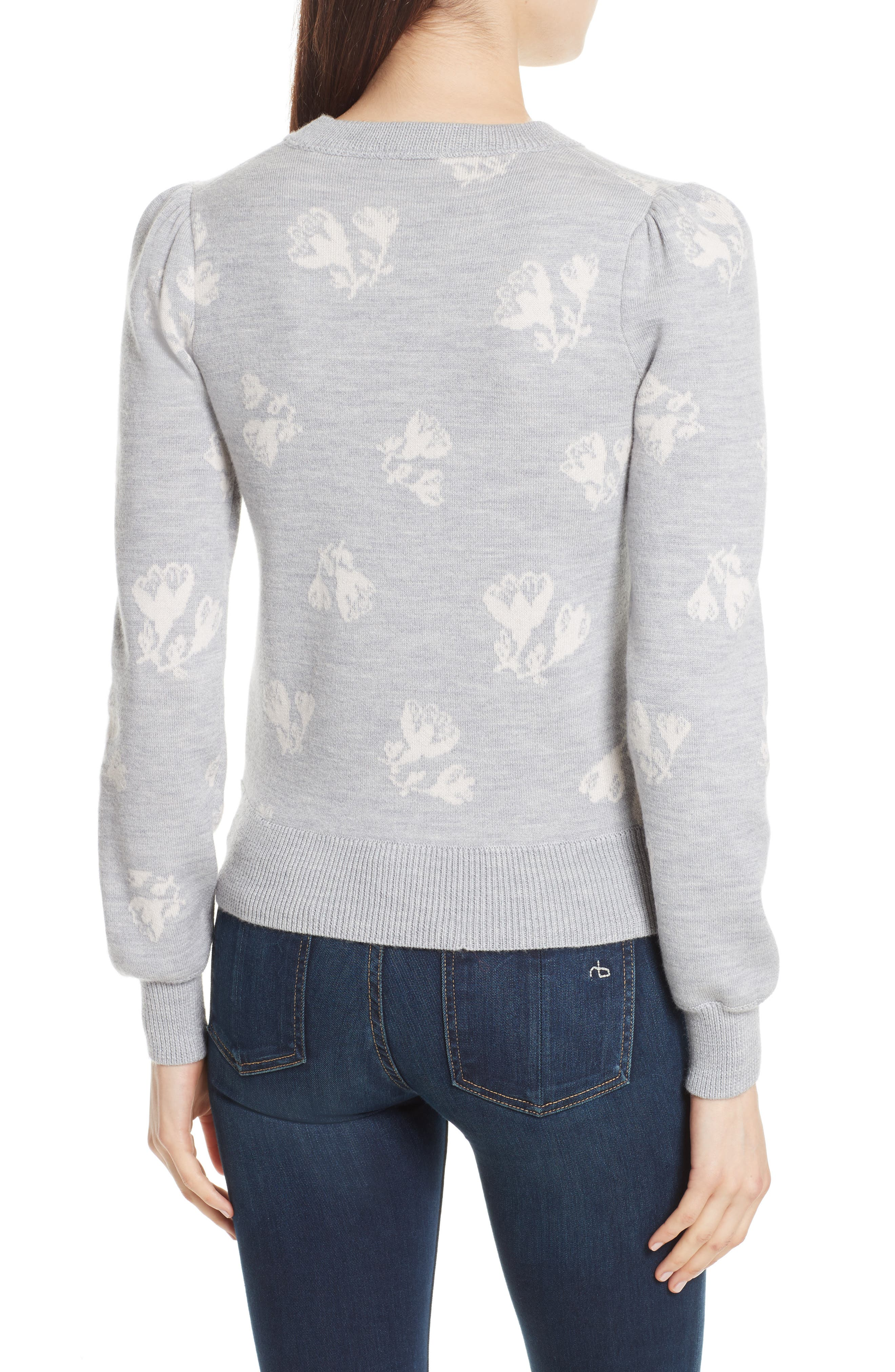 Floral Jacquard Sweater,                             Alternate thumbnail 2, color,                             Grey Melange