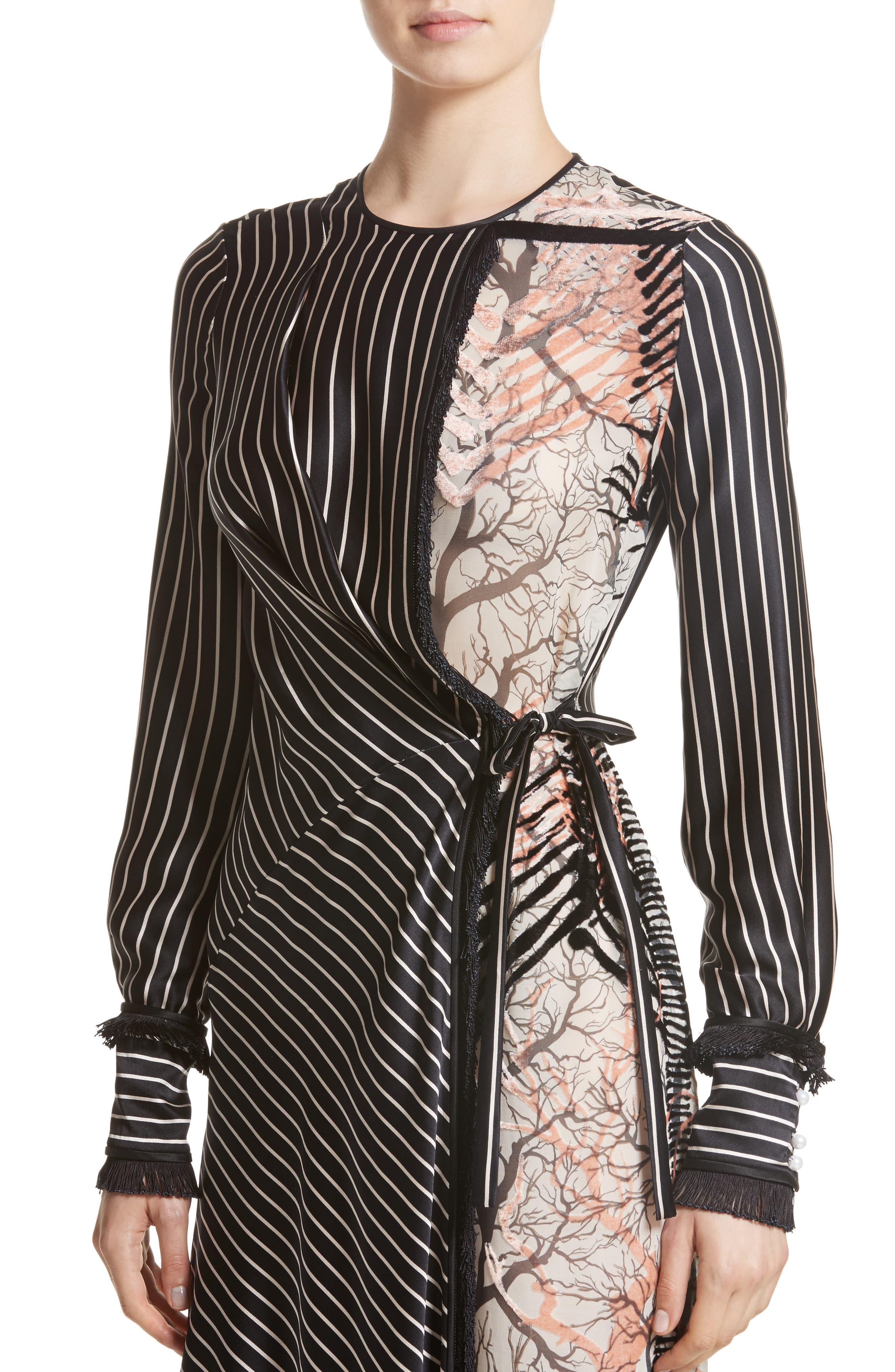 Alternate Image 4  - Yigal Azrouël Fringe Trim Asymmetrical Stripe Silk Dress