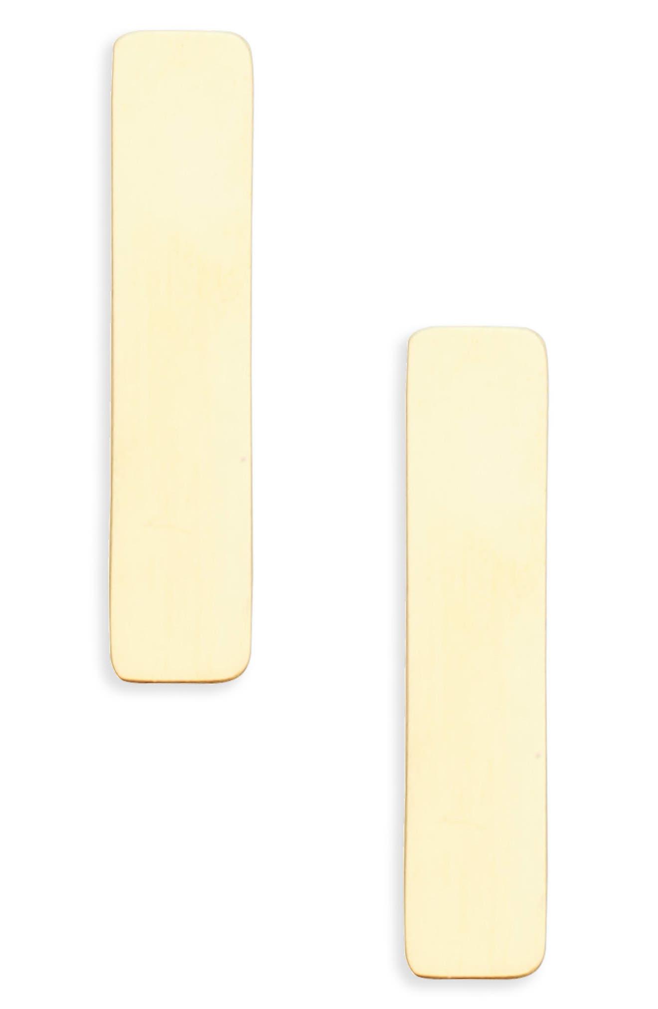 Bar Stud Earrings,                             Main thumbnail 1, color,                             Gold