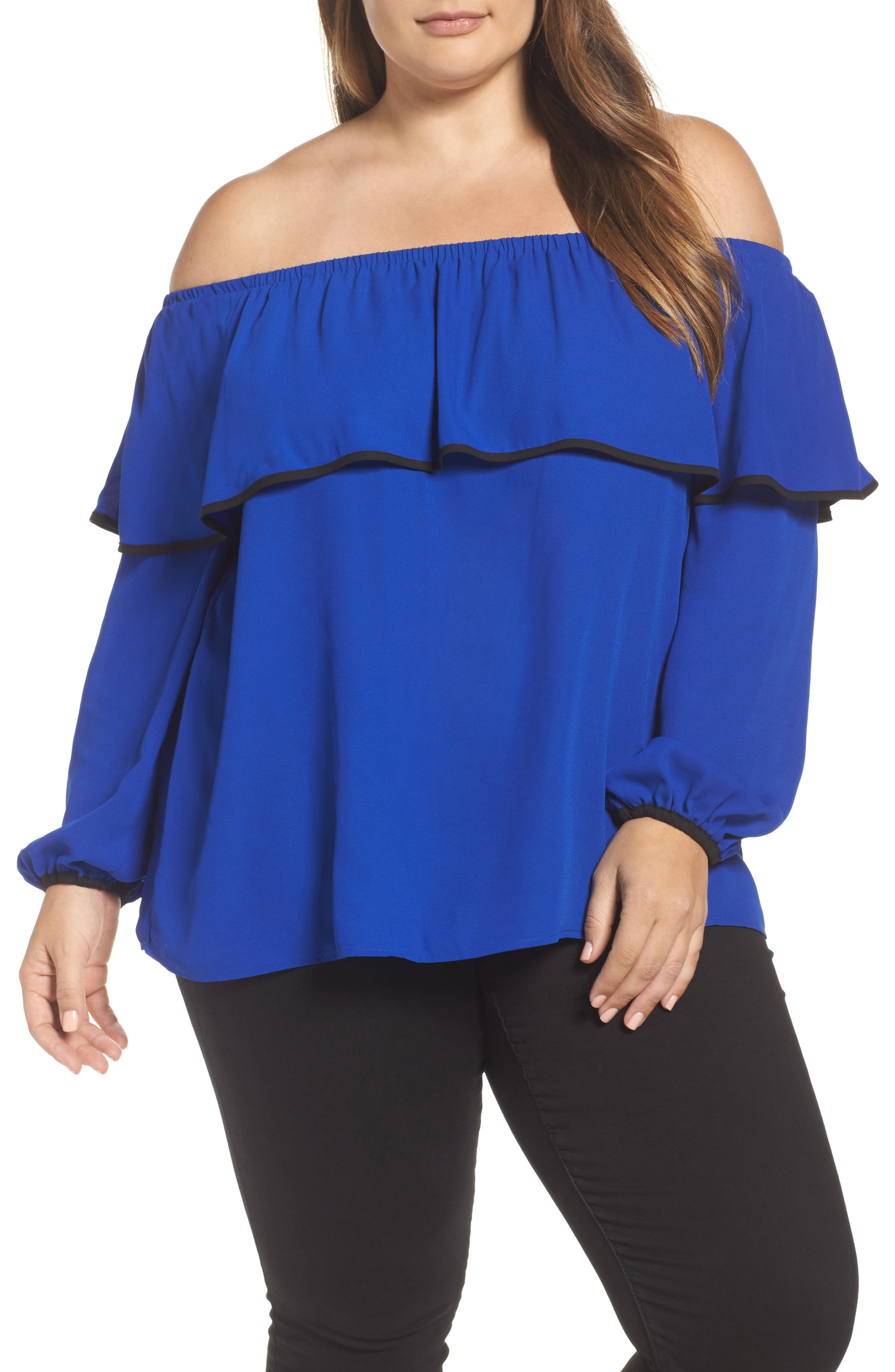 Vince Camuto Ruffle Off the Shoulder Blouse (Plus Size)