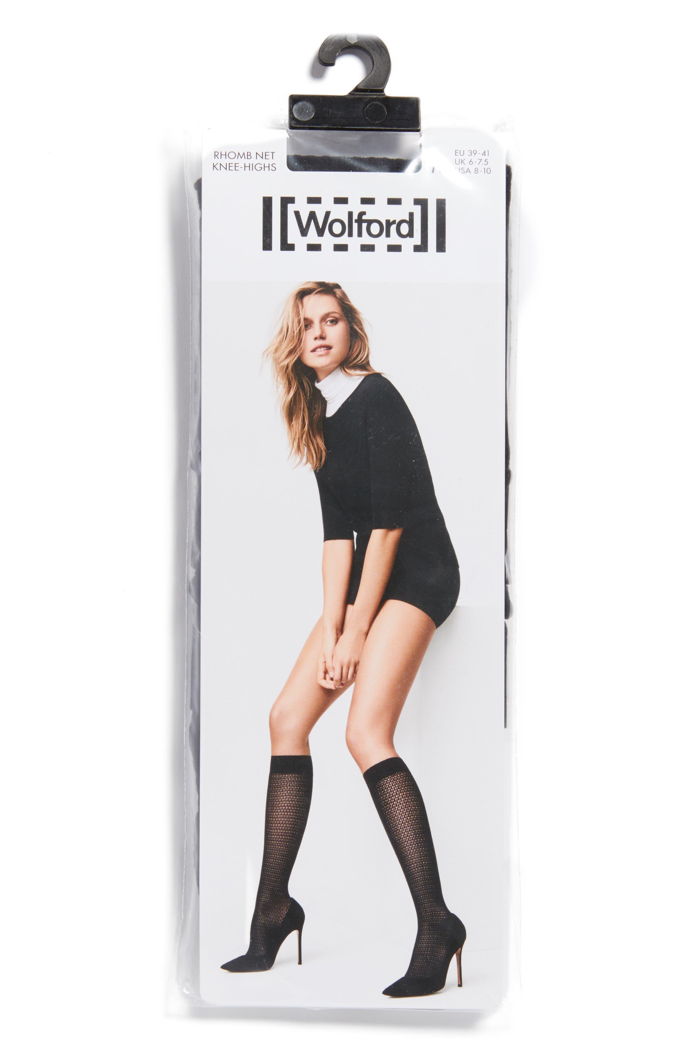 Rhomb Net Knee High Stockings,                             Alternate thumbnail 2, color,                             Black