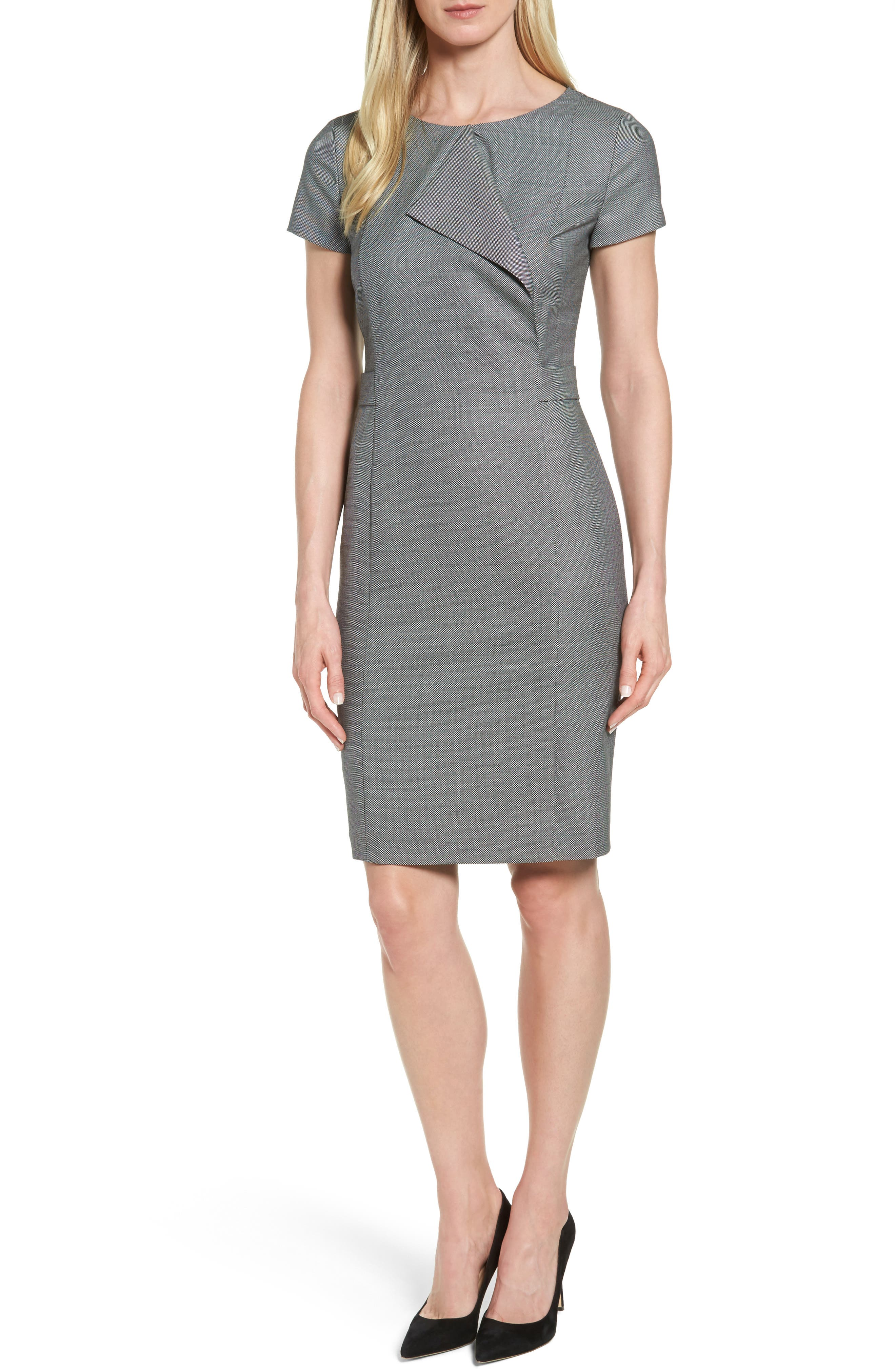 BOSS Danilera Bird's Eye Wool Sheath Dress
