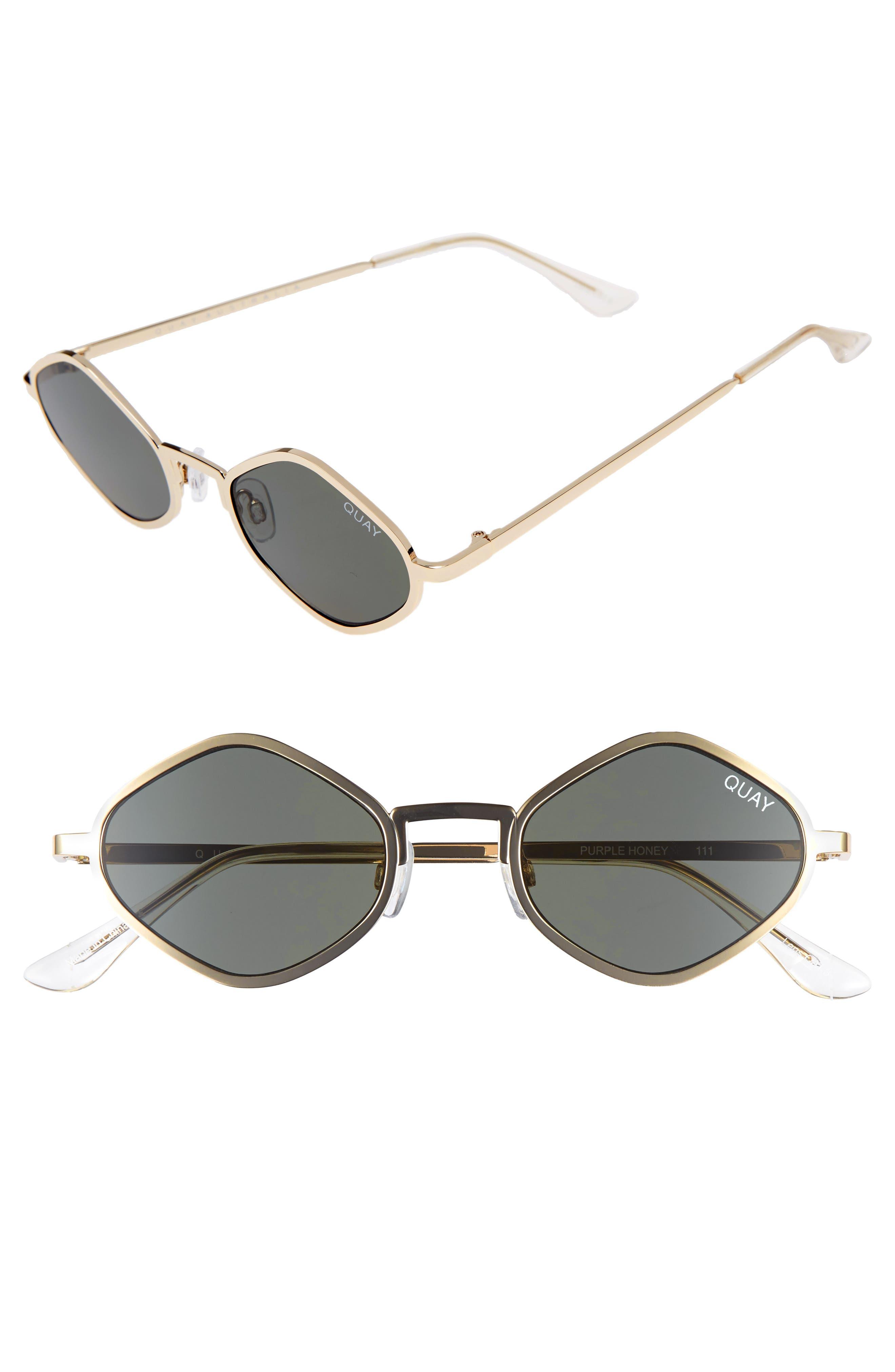 Purple Honey 48mm Geo Sunglasses,                         Main,                         color, Gold/ Green
