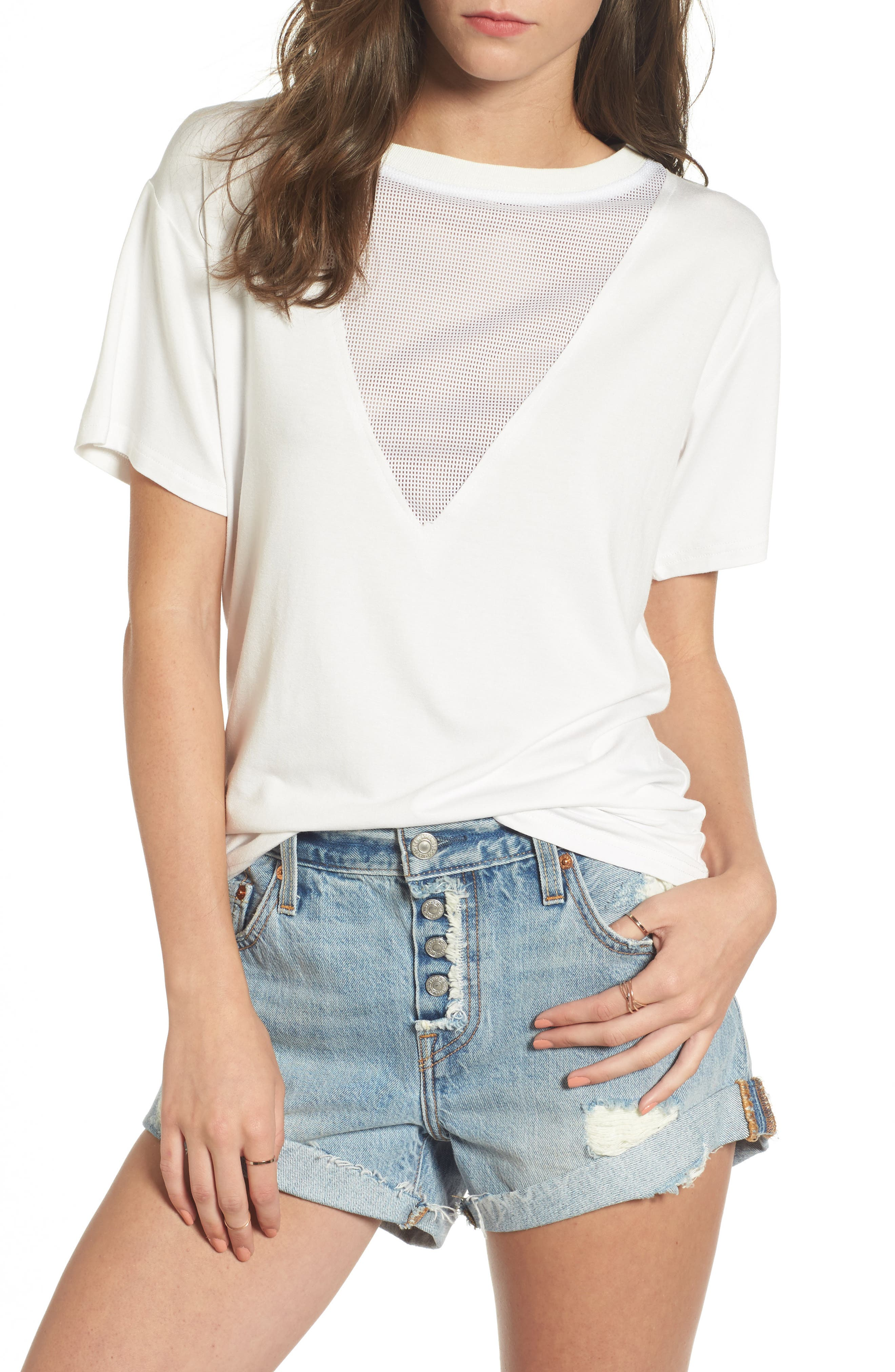 Valley Mesh Inset Tee,                         Main,                         color, Ivory