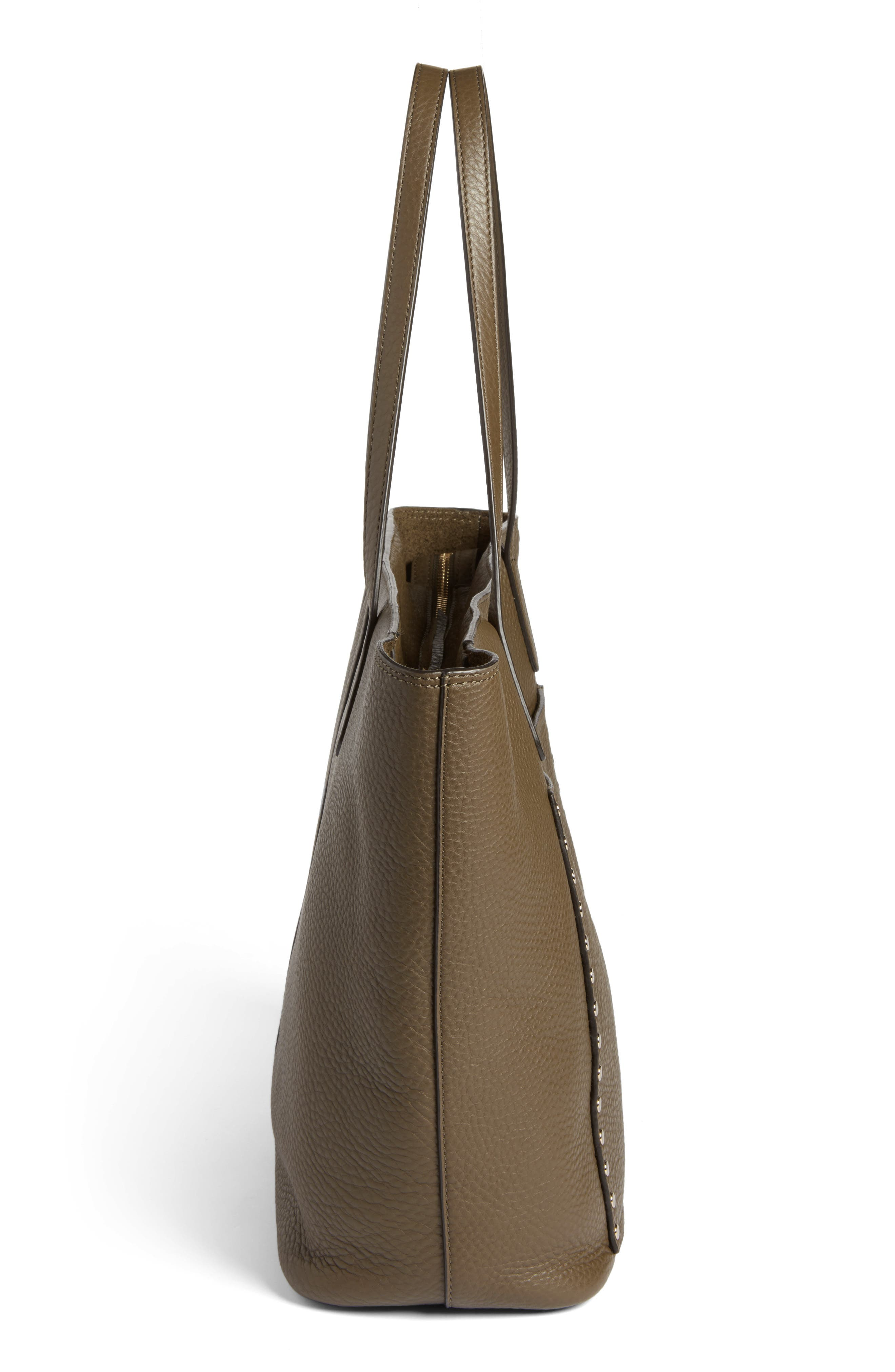 Unlined Front Pocket Leather Tote,                             Alternate thumbnail 5, color,                             Moss/ Light Gold Hardware