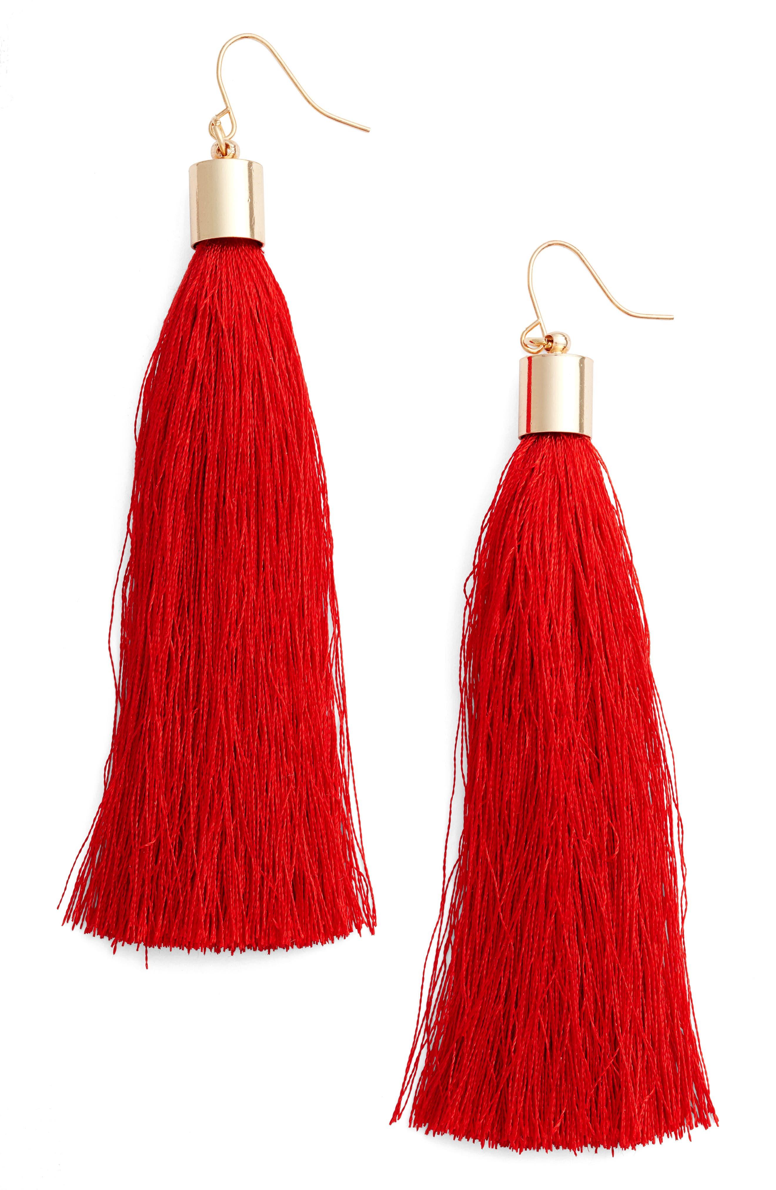 Tassel Earrings,                         Main,                         color, Red