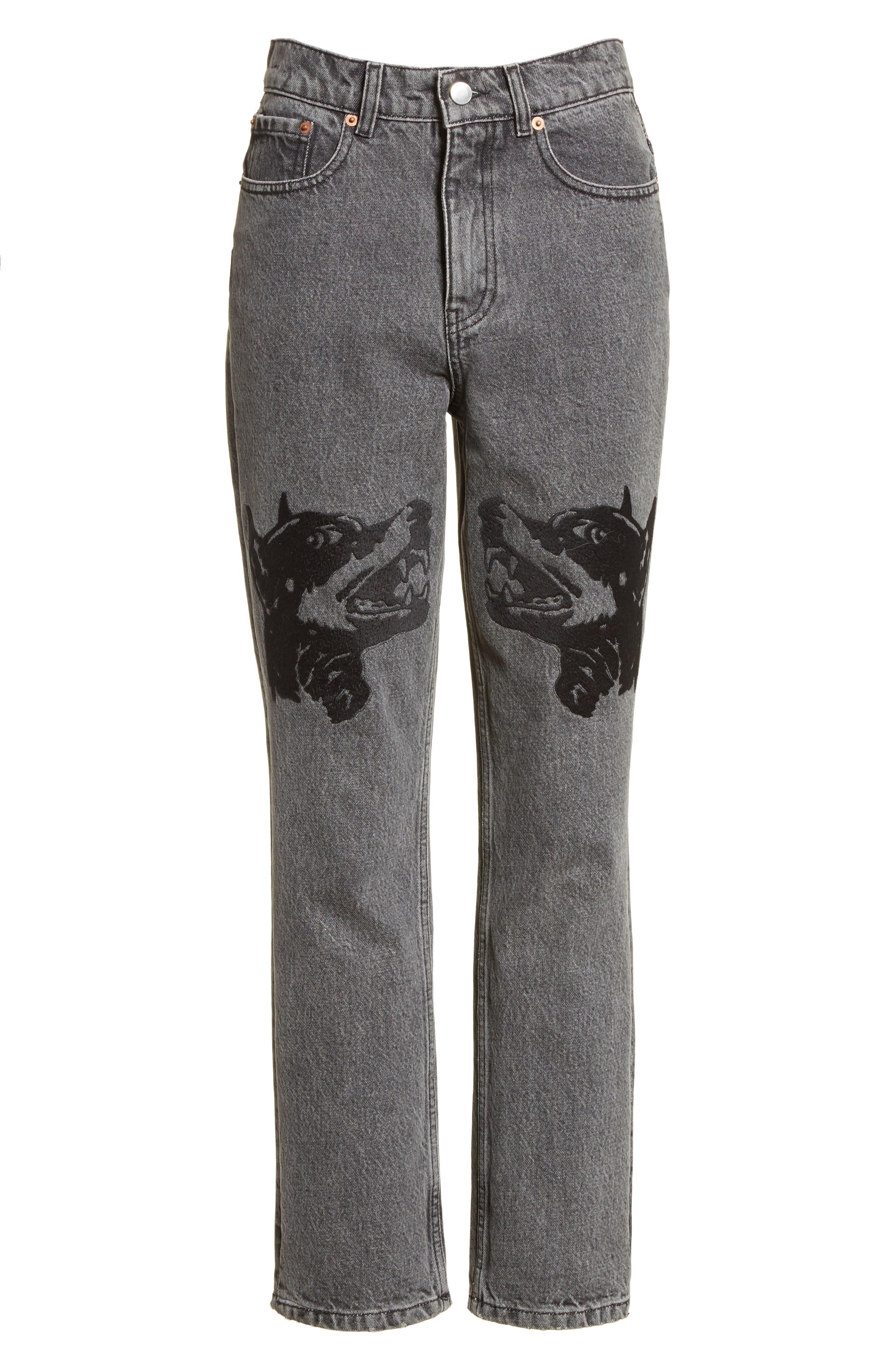 Alternate Image 7  - Ashley Williams Dog Embroidered Jeans (Grey)