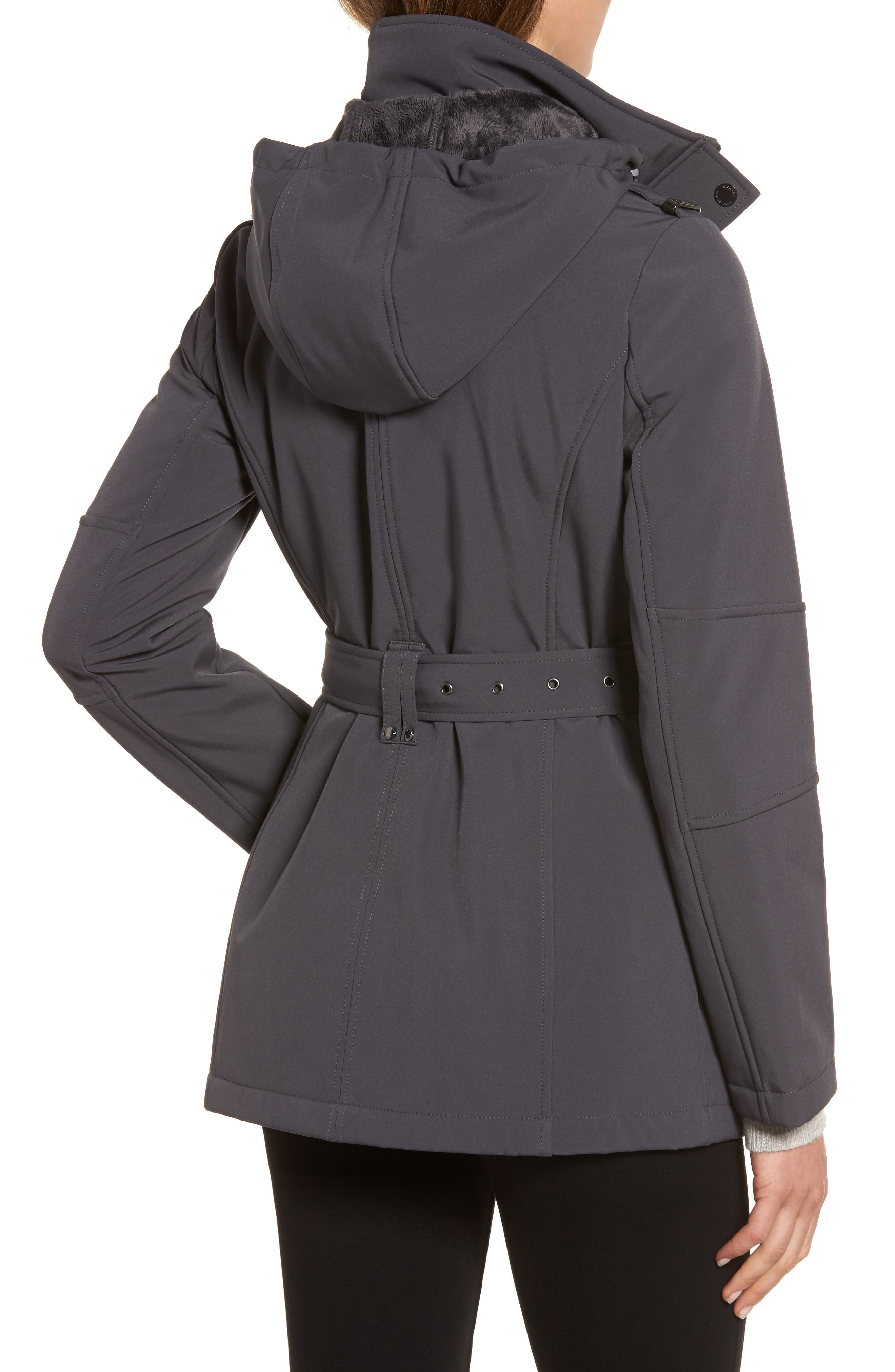 Waterproof Belted Jacket with Detachable Hood,                             Alternate thumbnail 2, color,                             Charcoal