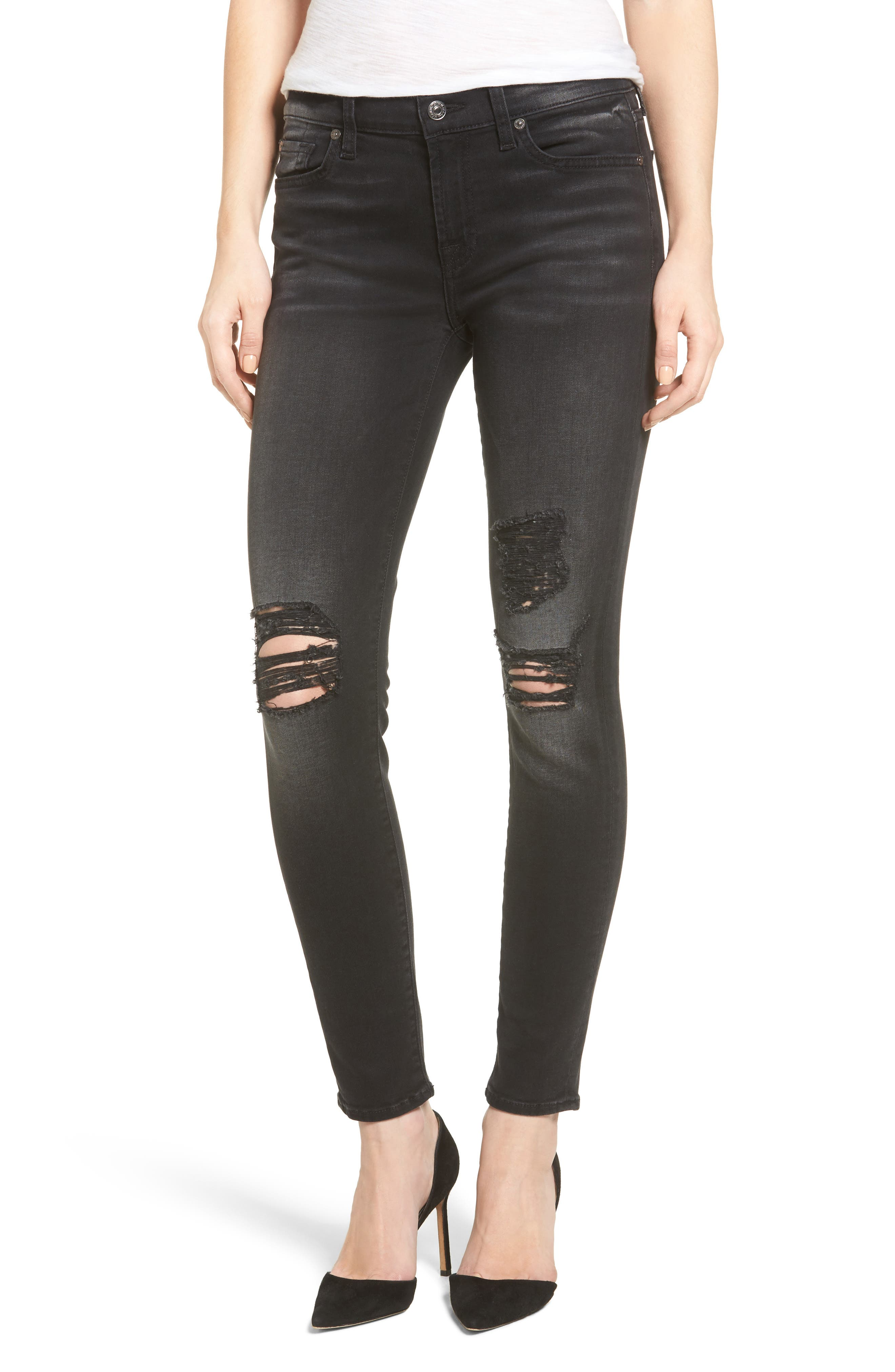 Main Image - Seven7 The Ankle Skinny Jeans (Aged Onyx)