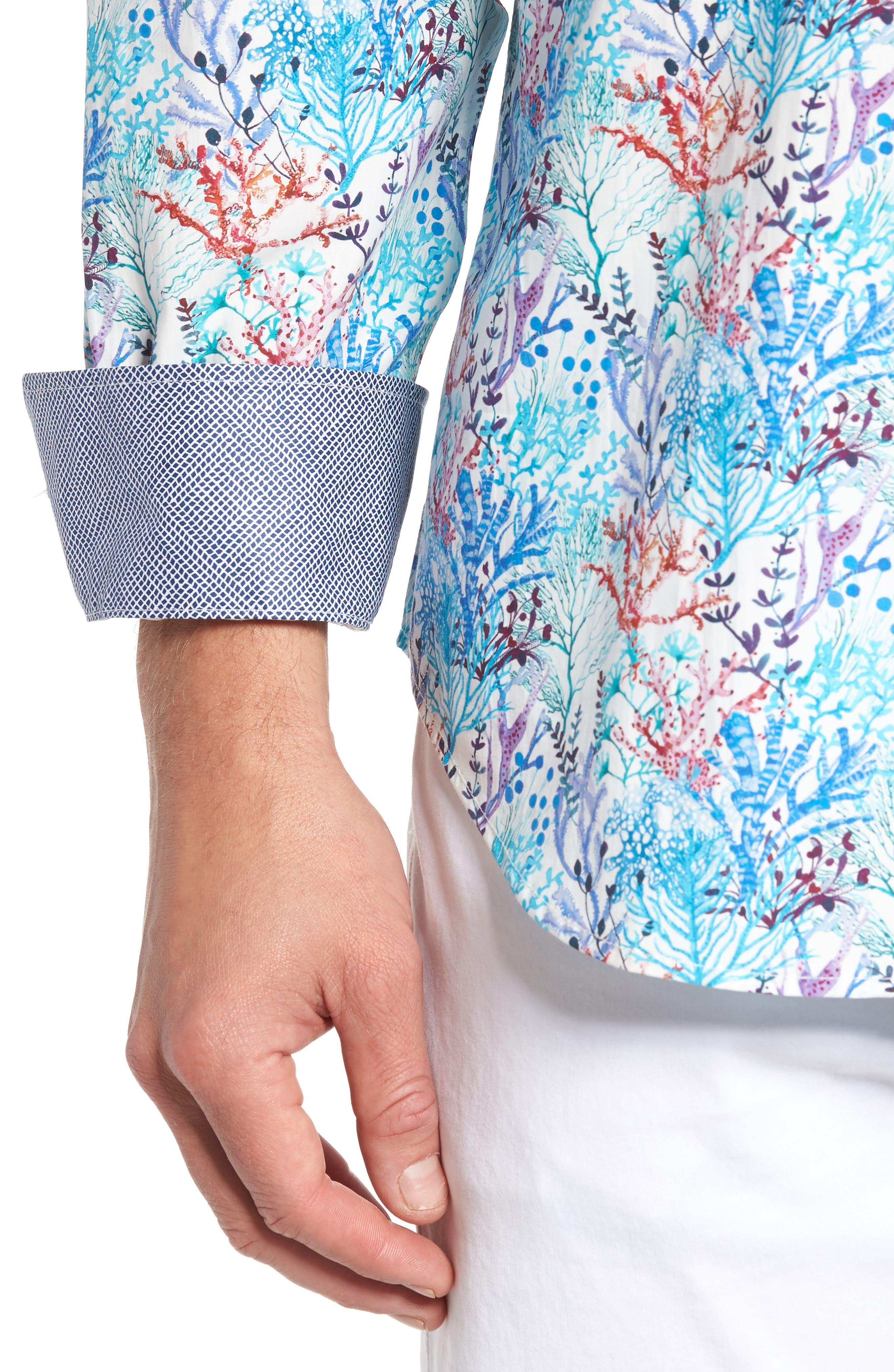 Alternate Image 4  - Bugatchi Classic Fit Floral Print Sport Shirt