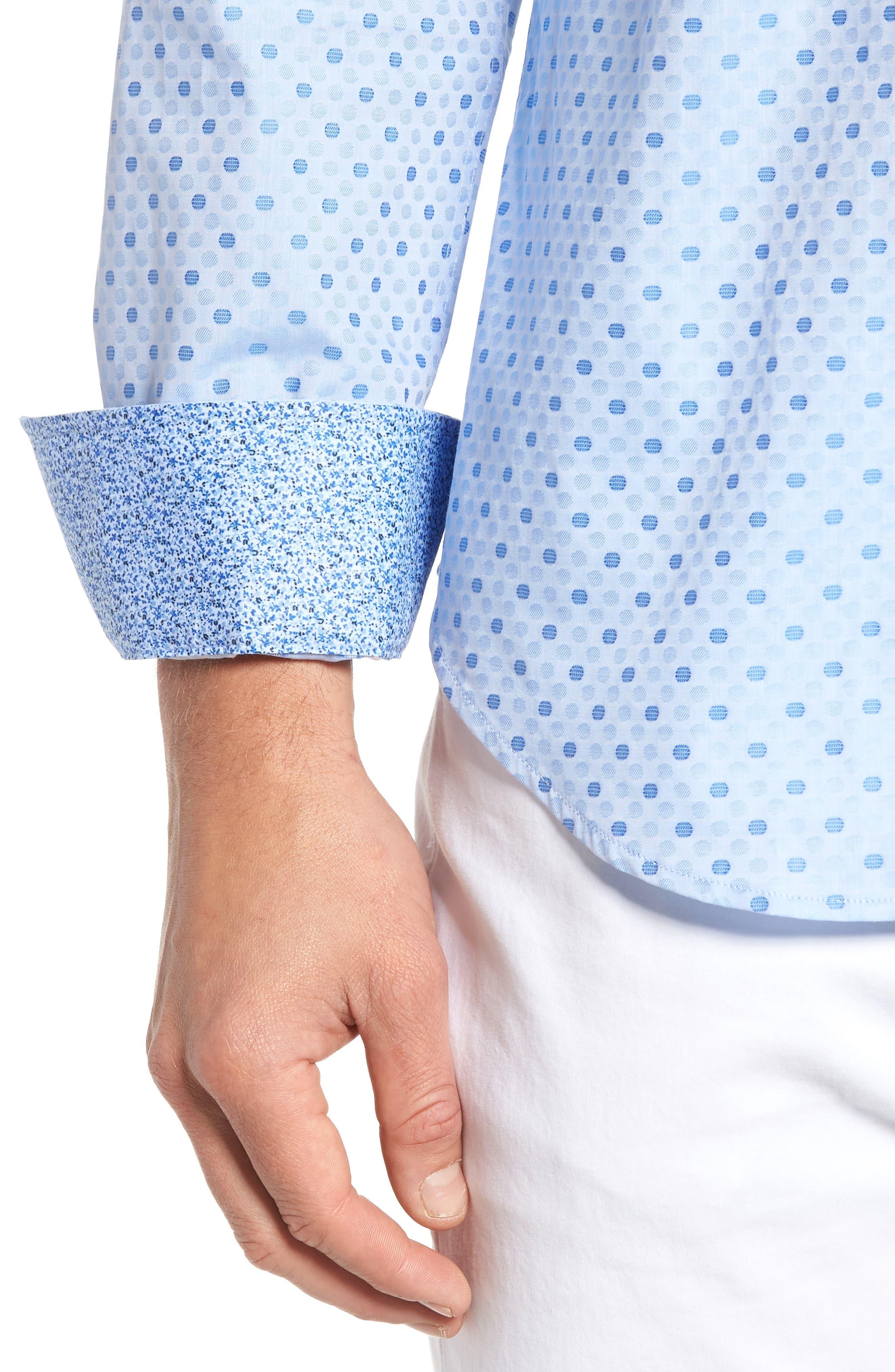 Alternate Image 5  - Bugatchi Shaped Fit Dot Sport Shirt