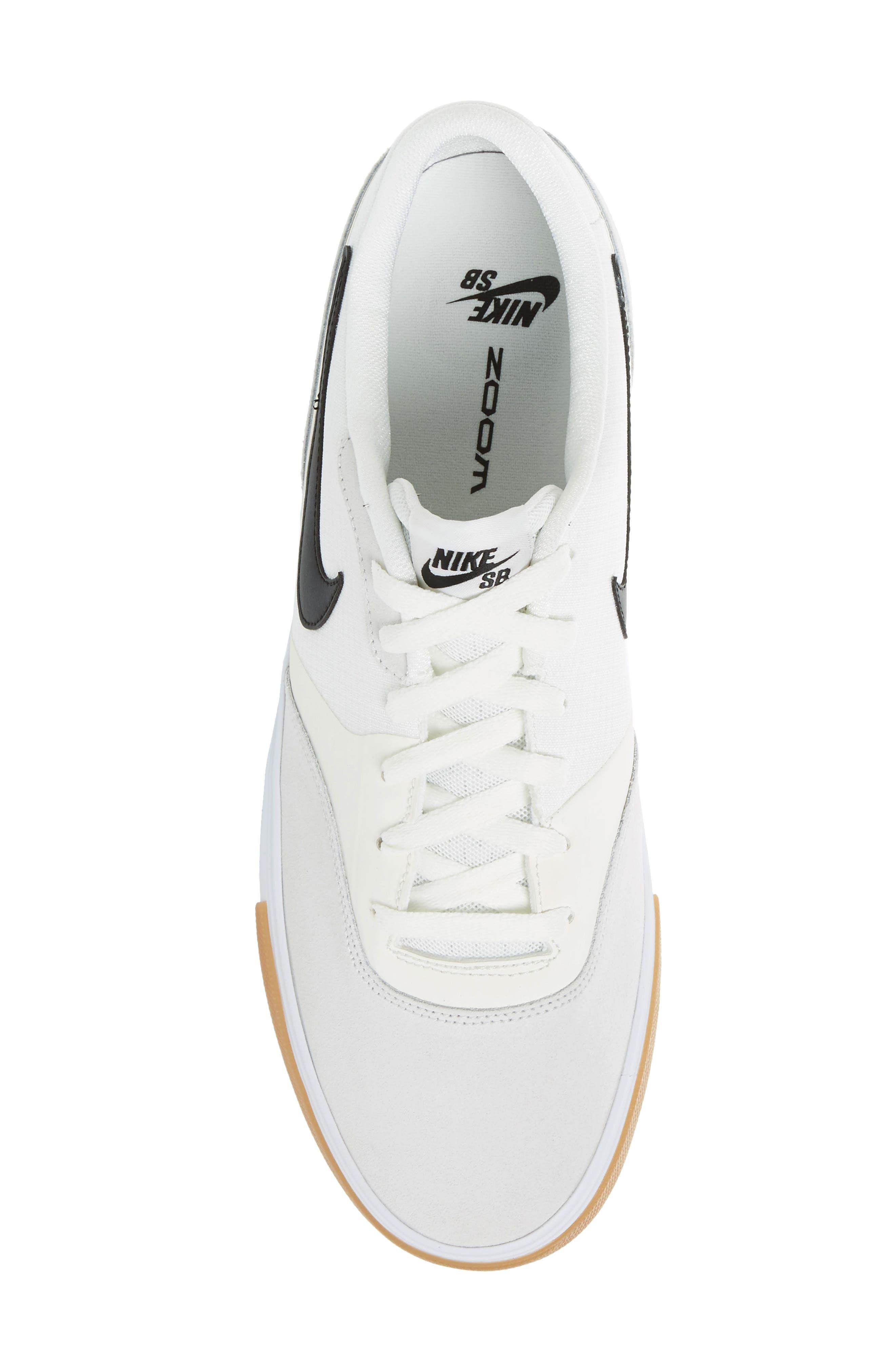 SB Paul Rodriguez 9 VR Skateboarding Sneaker,                             Alternate thumbnail 5, color,                             White/ Black/ Black