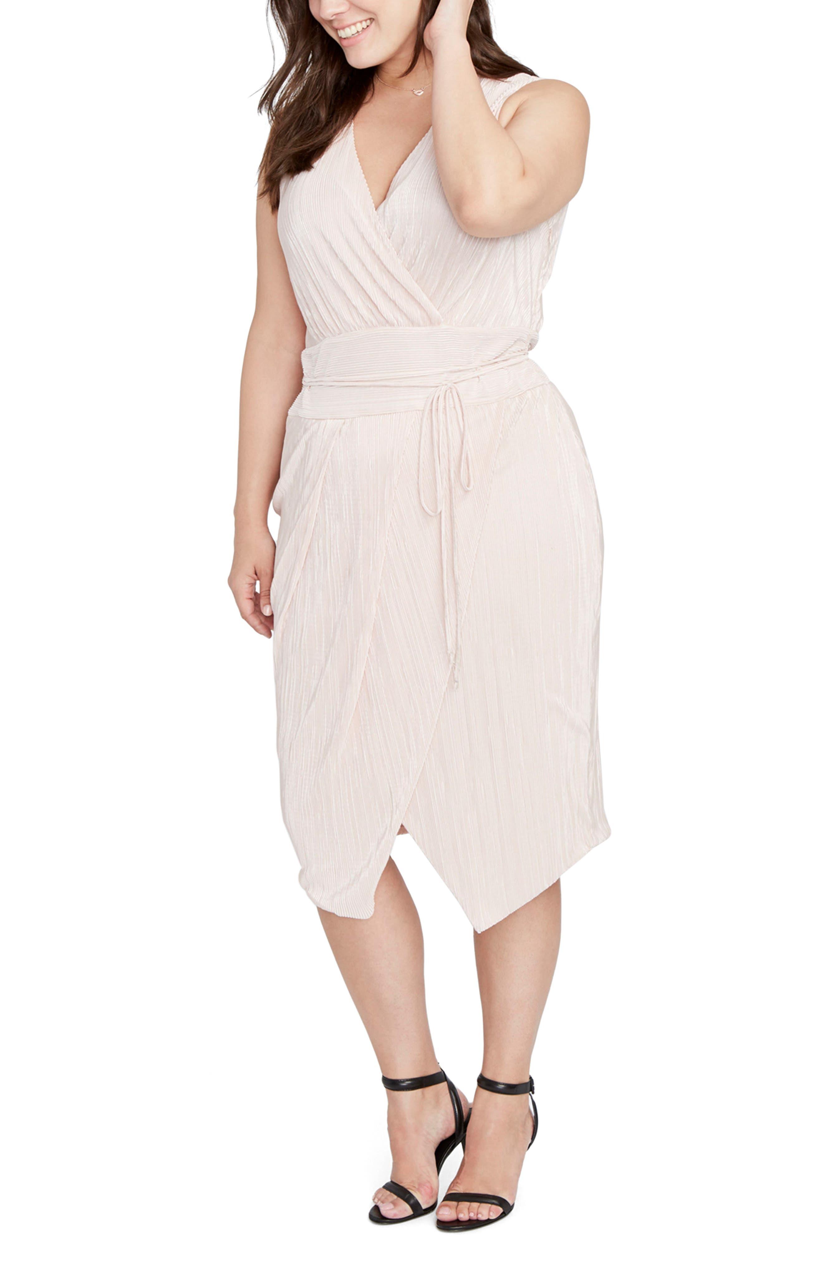 Foiled Faux Wrap Dress,                         Main,                         color, Blush