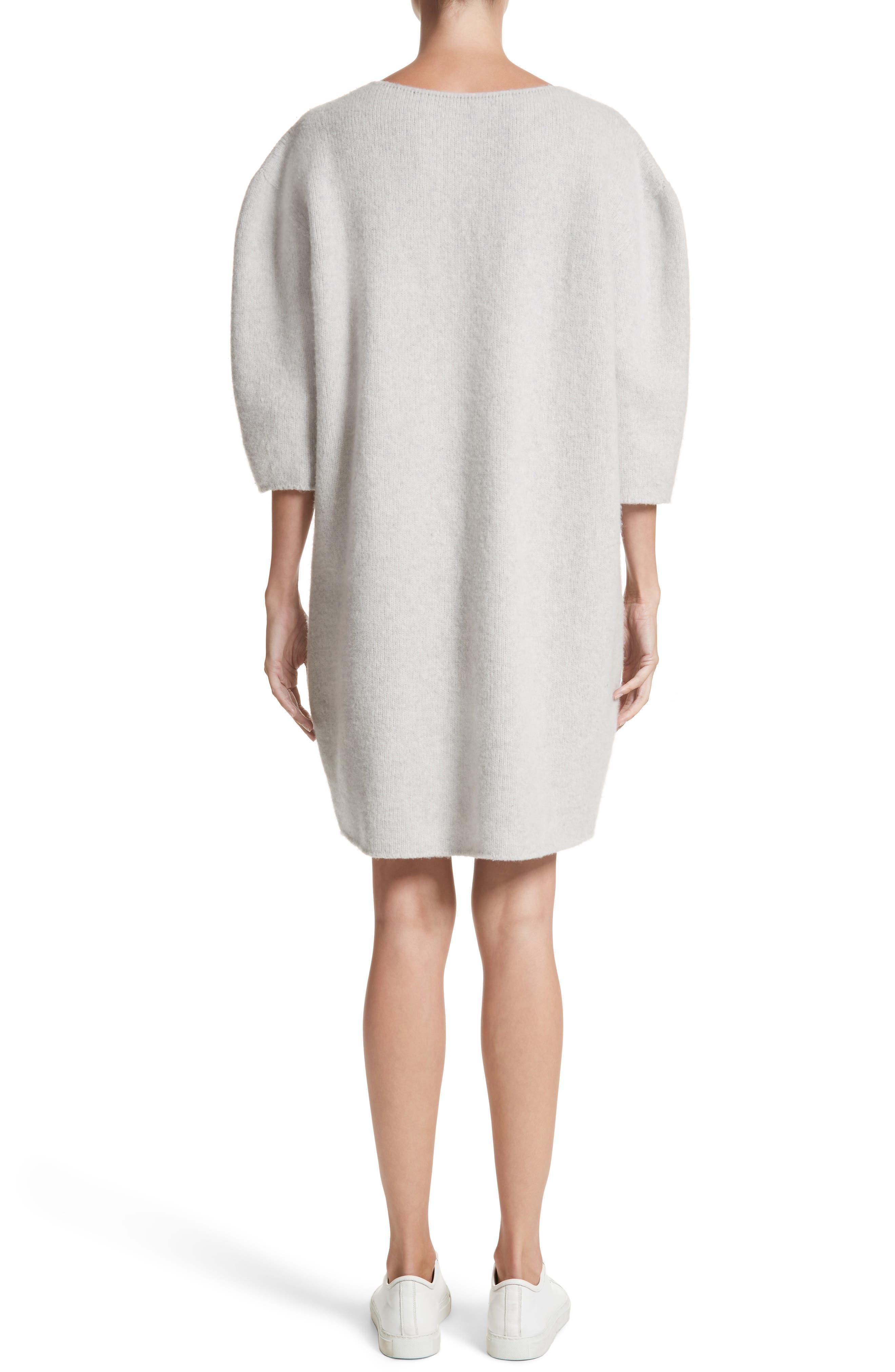 Baseball Wool Sweater Dress,                             Alternate thumbnail 2, color,                             Silver Melange