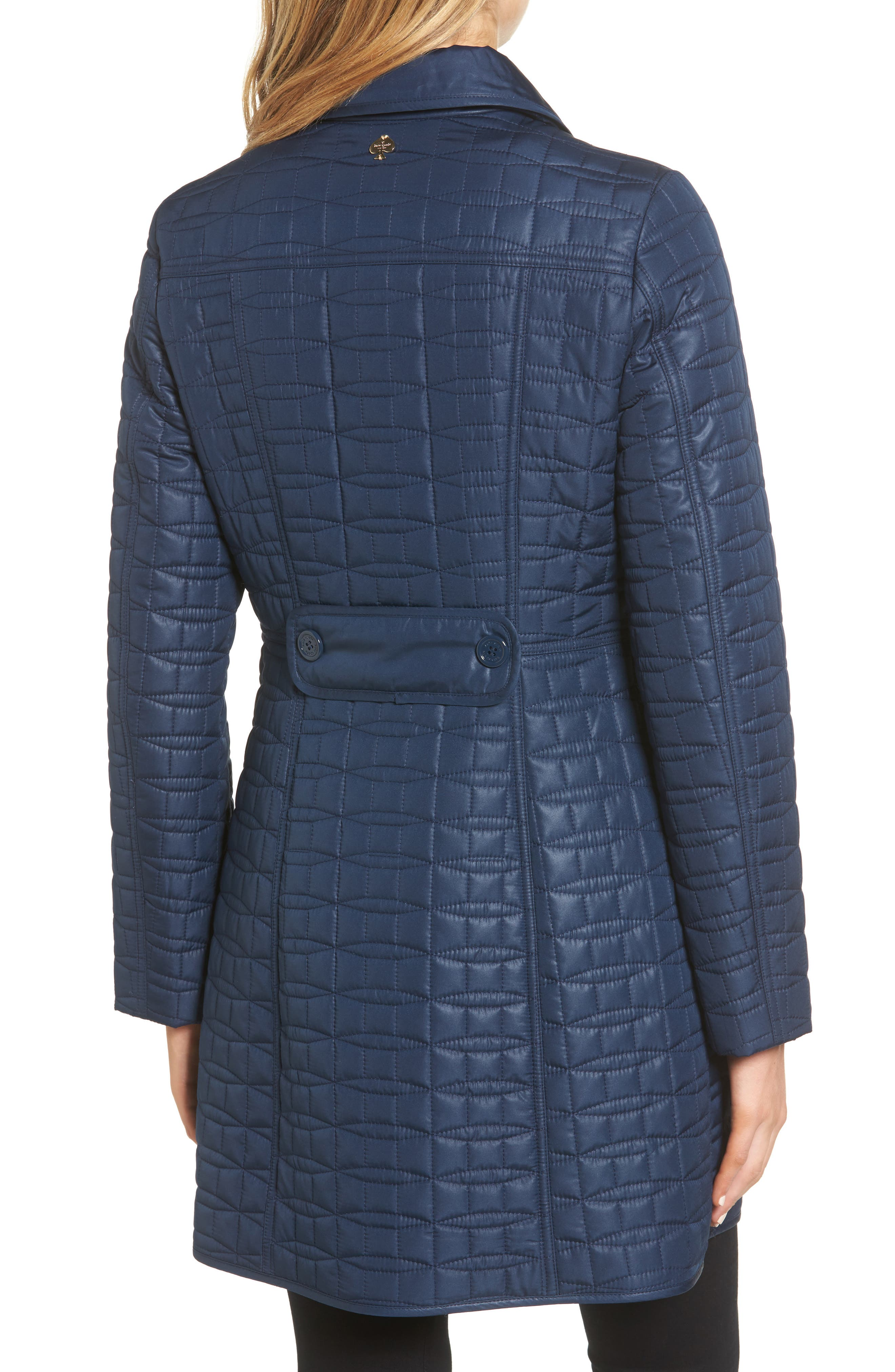 water resistant quilted coat,                             Alternate thumbnail 2, color,                             Rich Navy