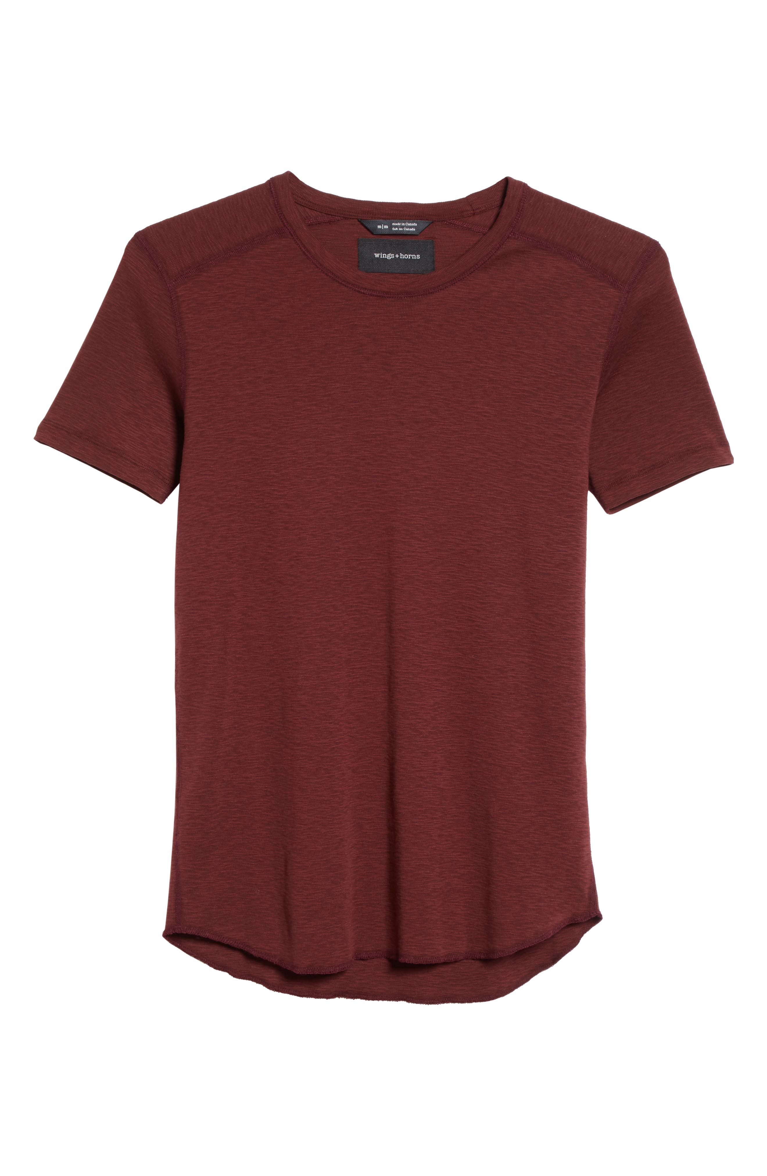 Ribbed Slub Cotton T-Shirt,                             Alternate thumbnail 6, color,                             Oxblood