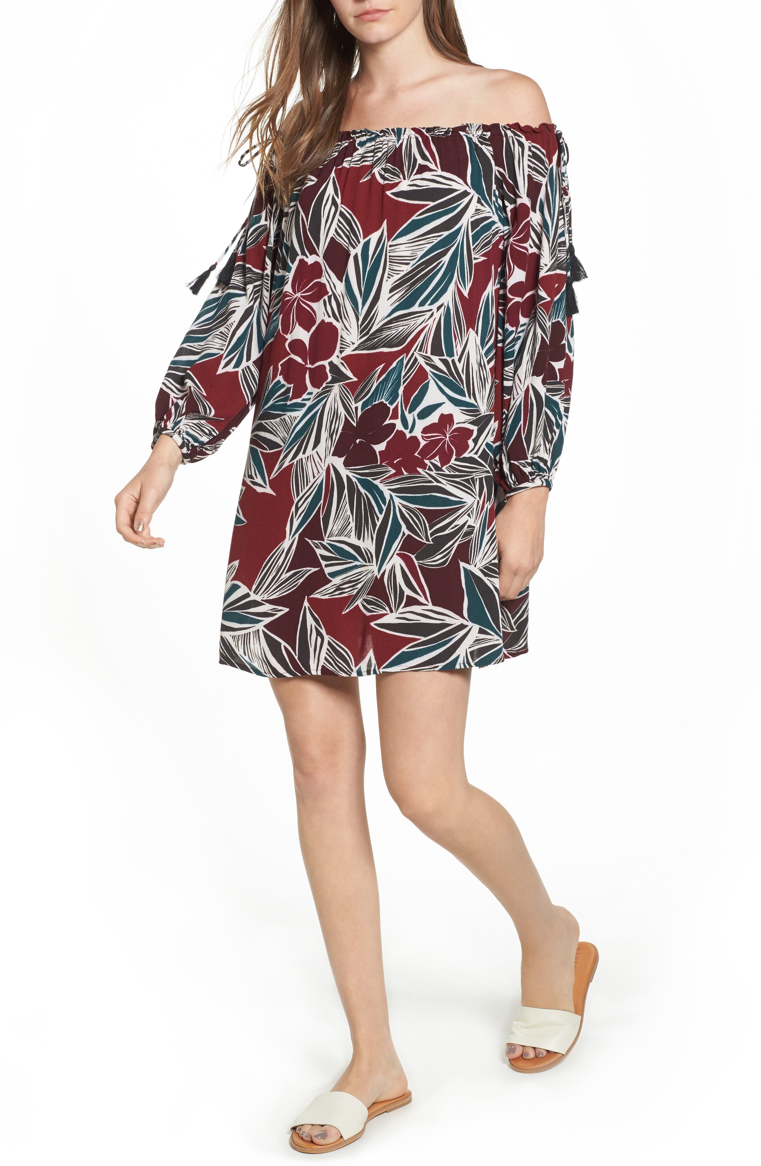 Lush Print Off the Shoulder Dress