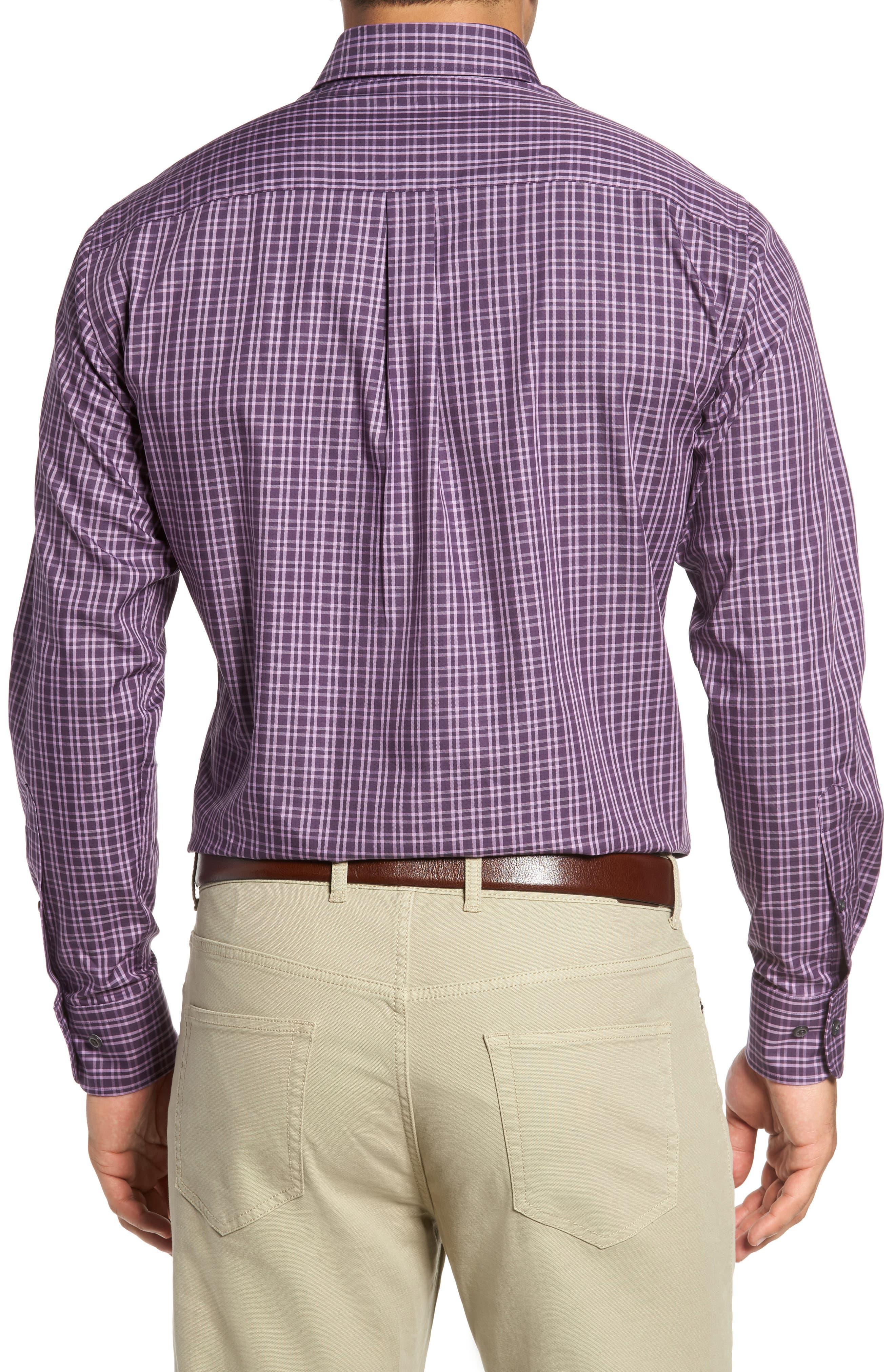 Autumn Check Regular Fit Sport Shirt,                             Alternate thumbnail 2, color,                             Blackberry