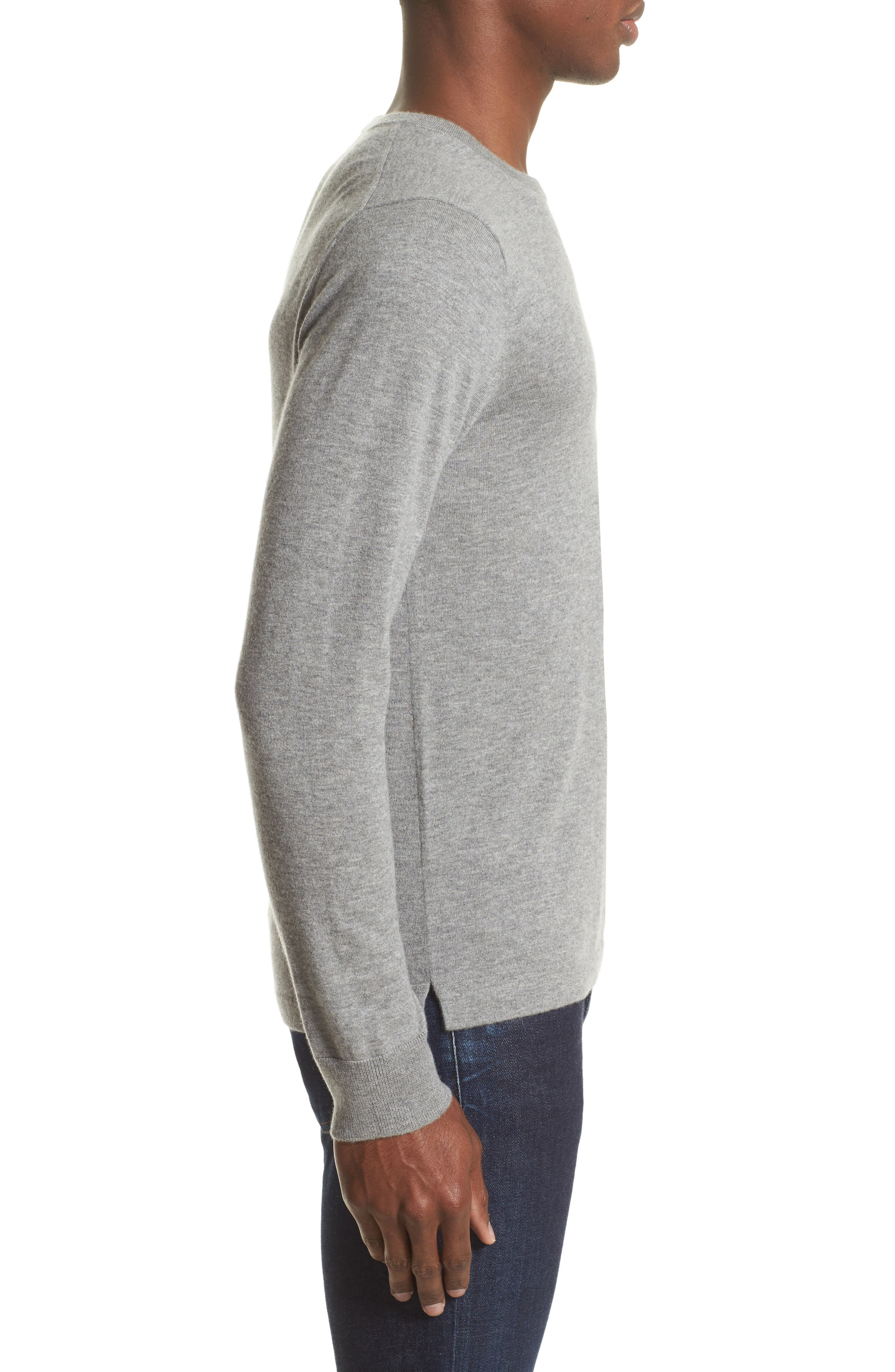 Cashmere Pocket T-Shirt,                             Alternate thumbnail 3, color,                             Grey Heather