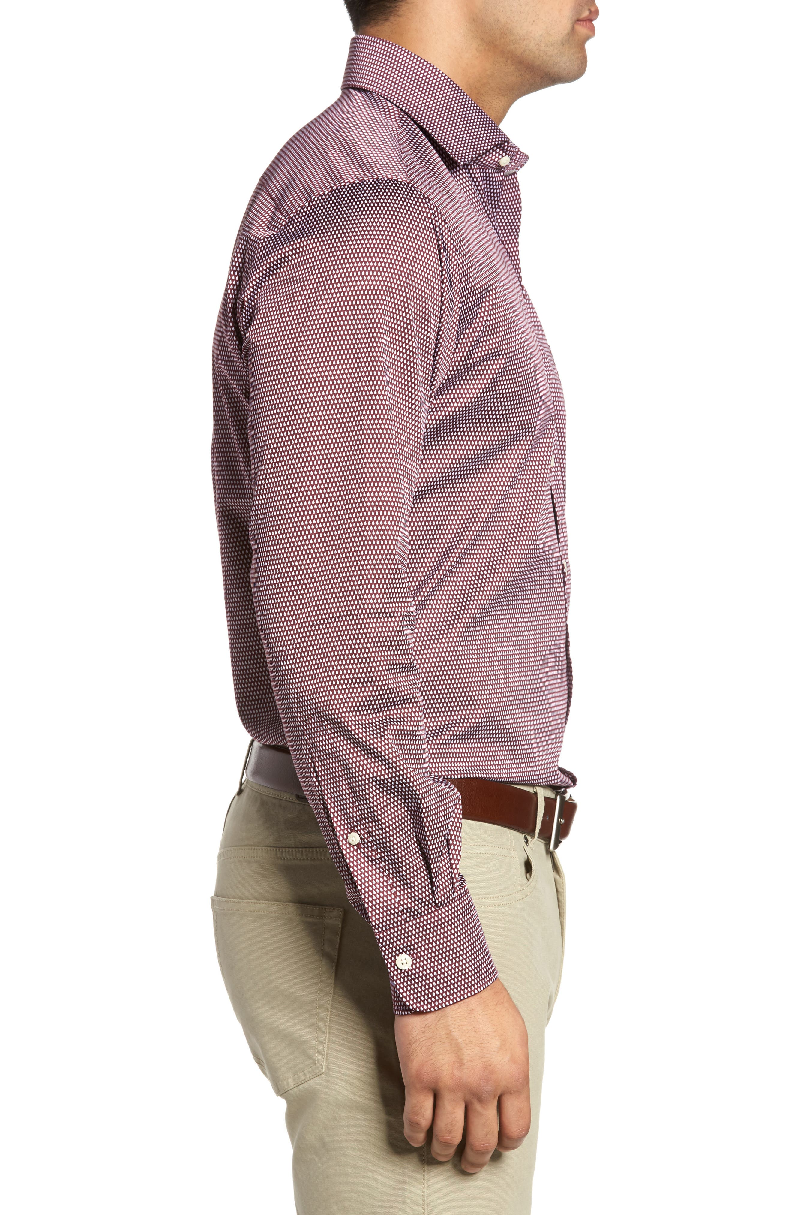 Single Flame Regular Fit Sport Shirt,                             Alternate thumbnail 3, color,                             French Wine