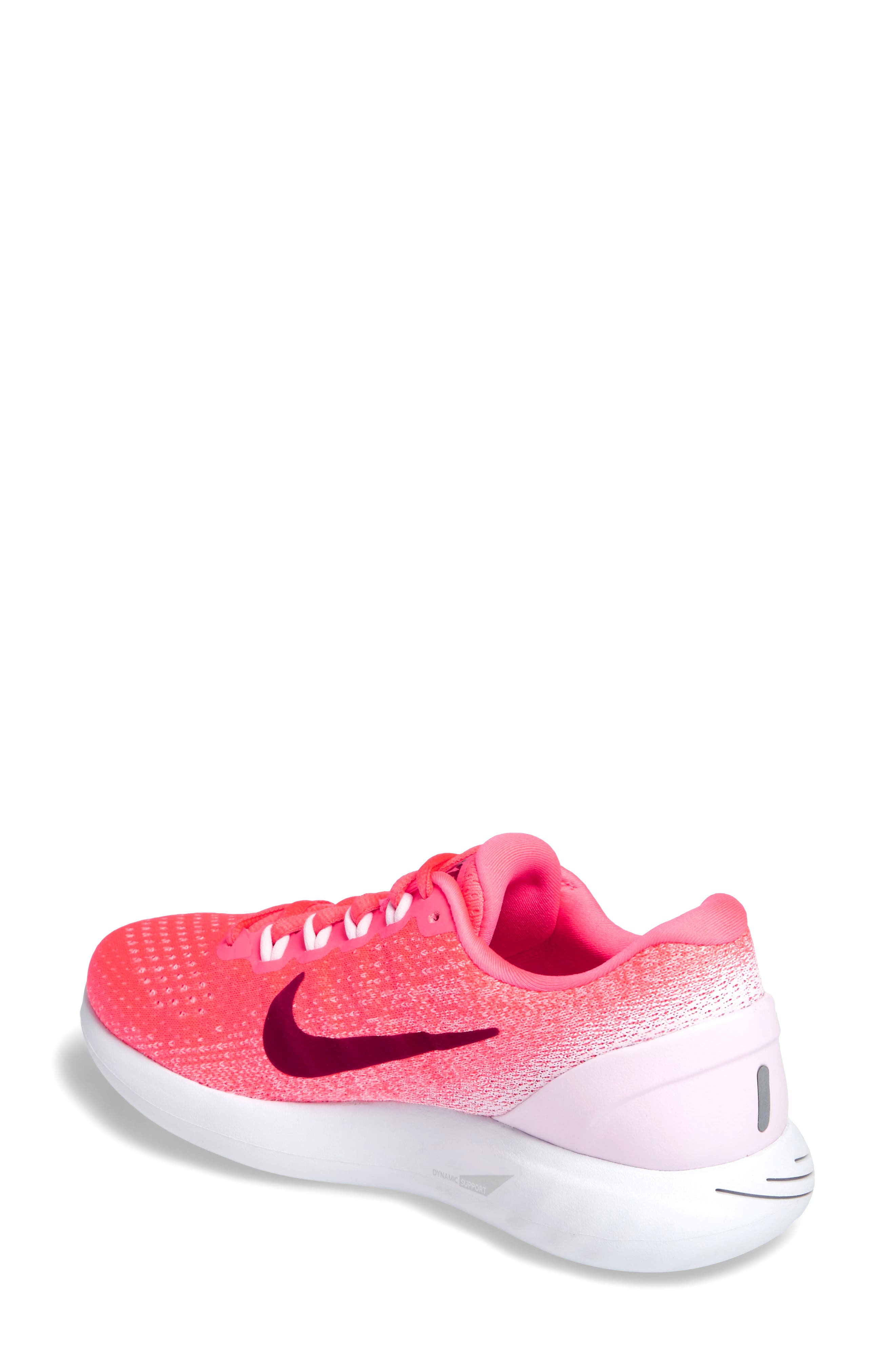 LunarGlide 9 Running Shoe,                             Alternate thumbnail 2, color,                             Hot Punch/ Noble Red/ Arctic