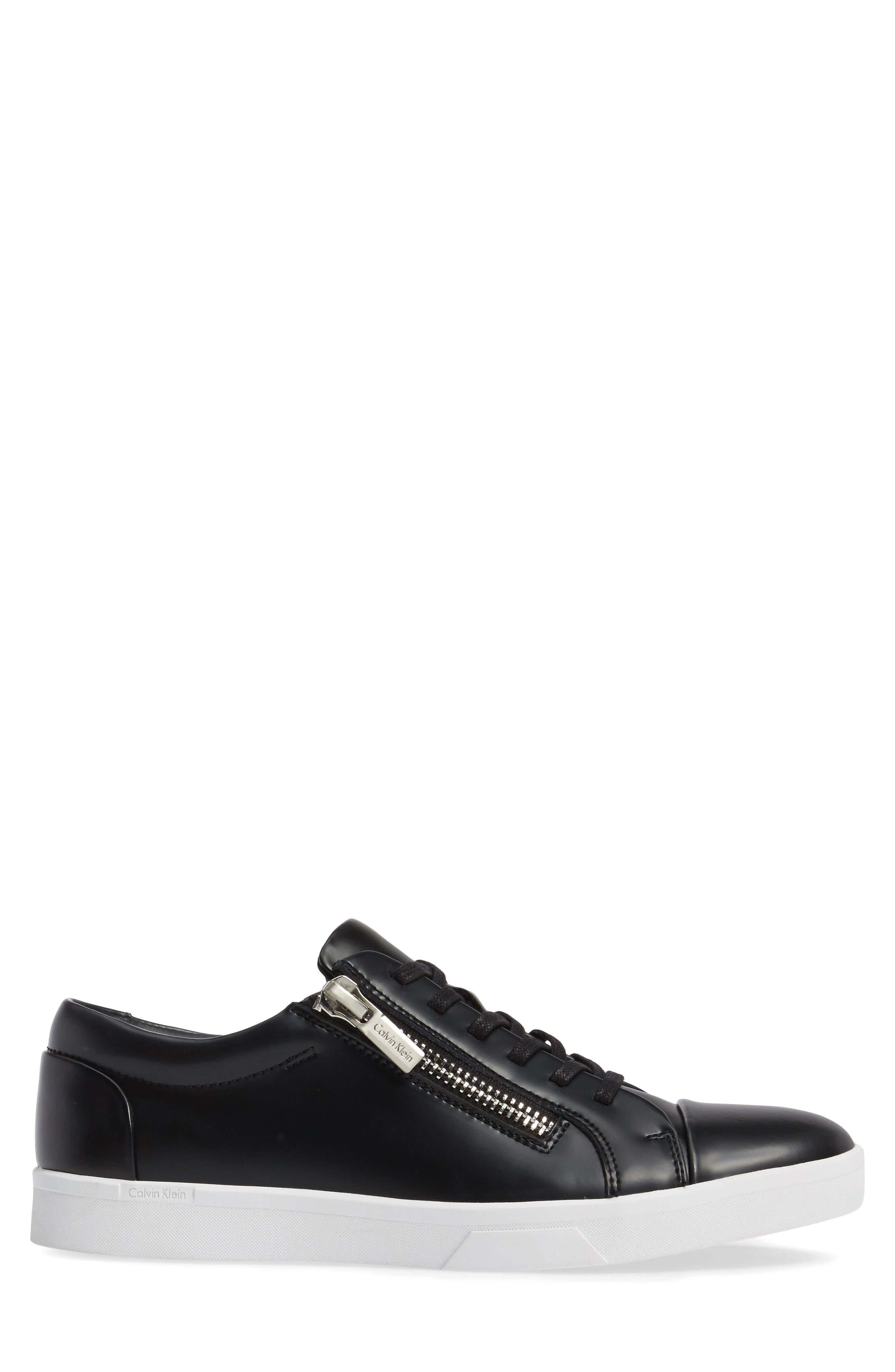 Ibrahim Cap-Toe Zip Sneaker,                             Alternate thumbnail 3, color,                             Black Leather