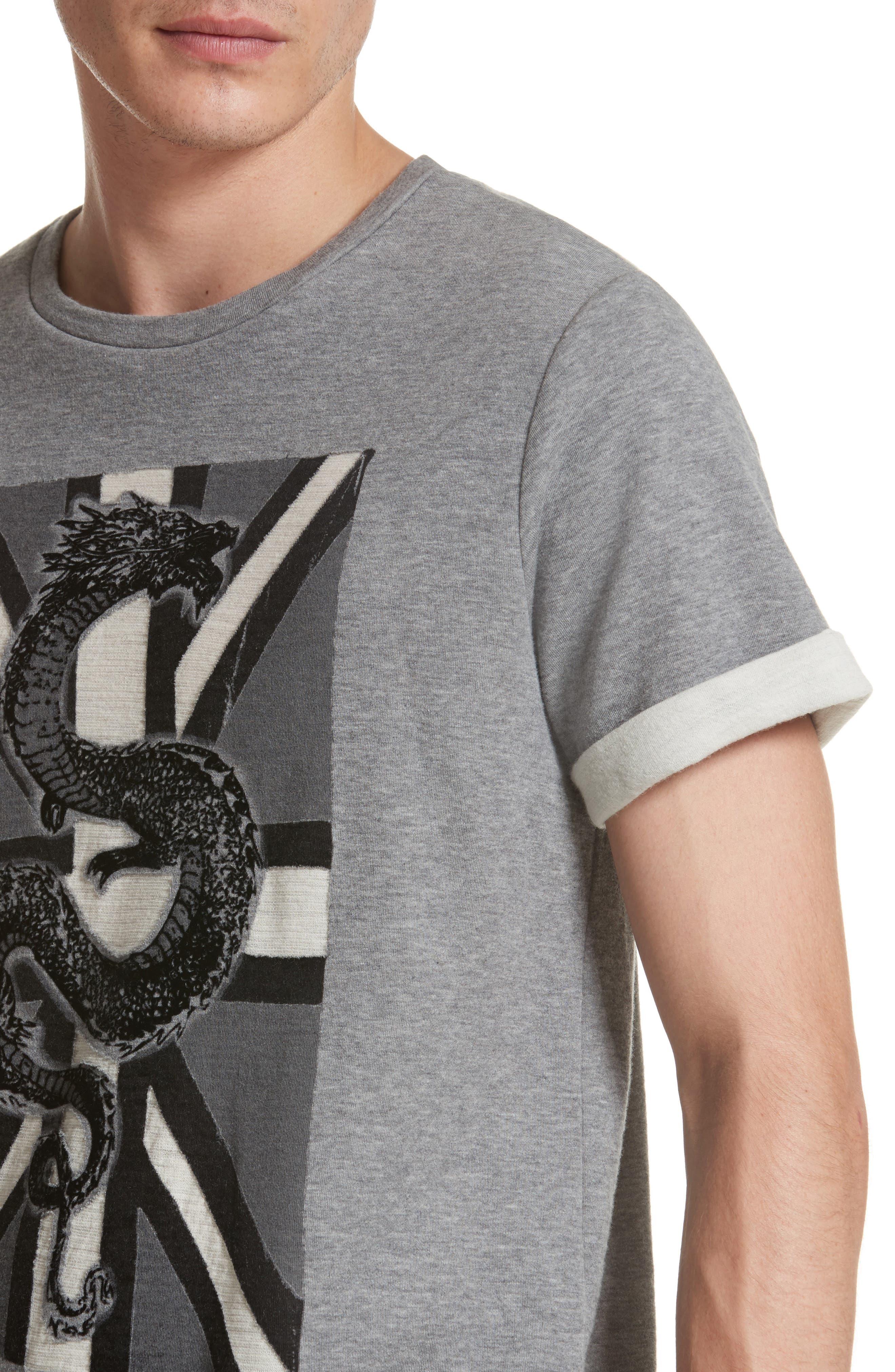 Print Fleece T-Shirt,                             Alternate thumbnail 4, color,                             Grey Melange