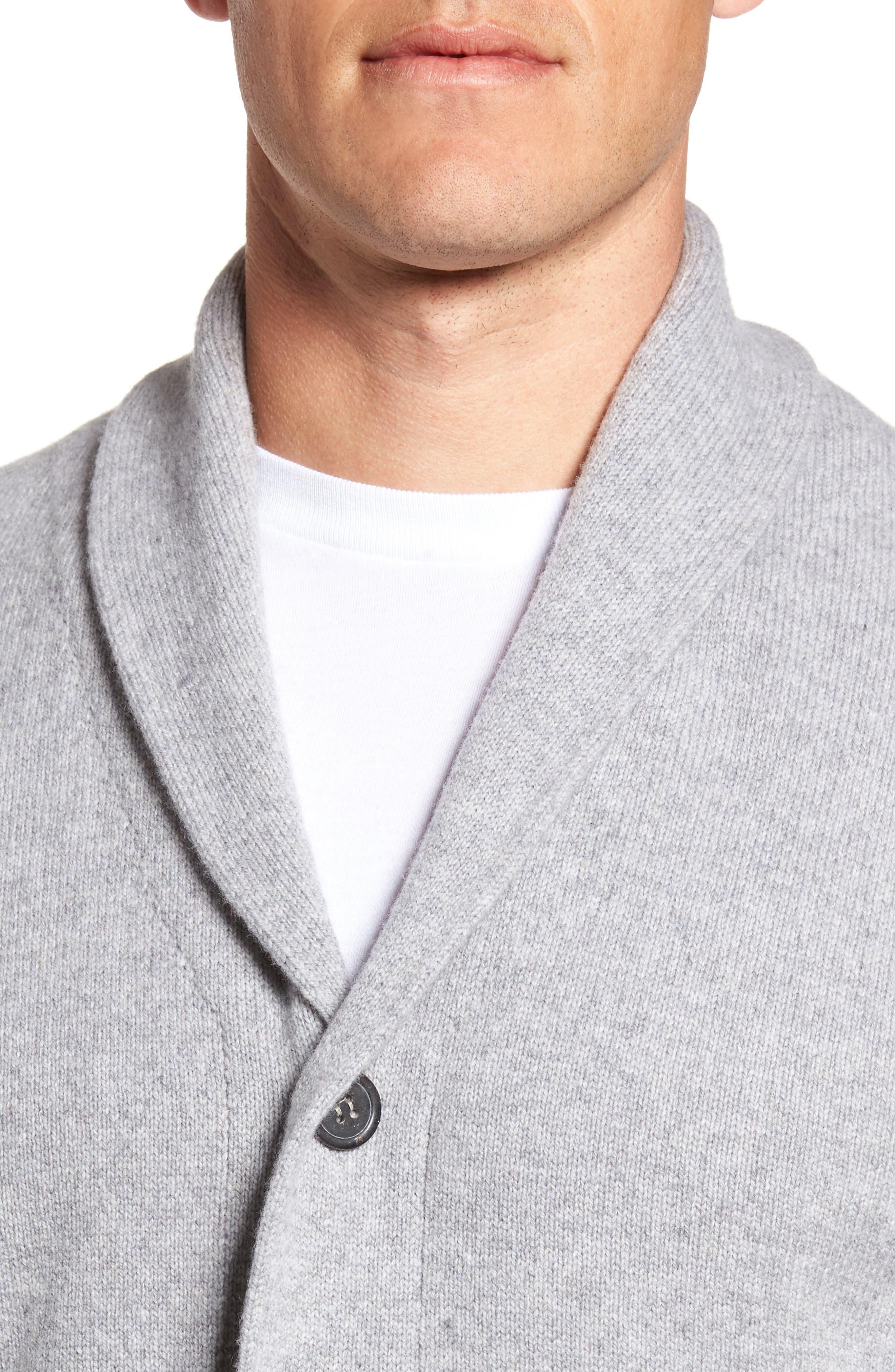 Slim Fit Merino Wool & Cashmere Cardigan,                             Alternate thumbnail 4, color,                             Silver