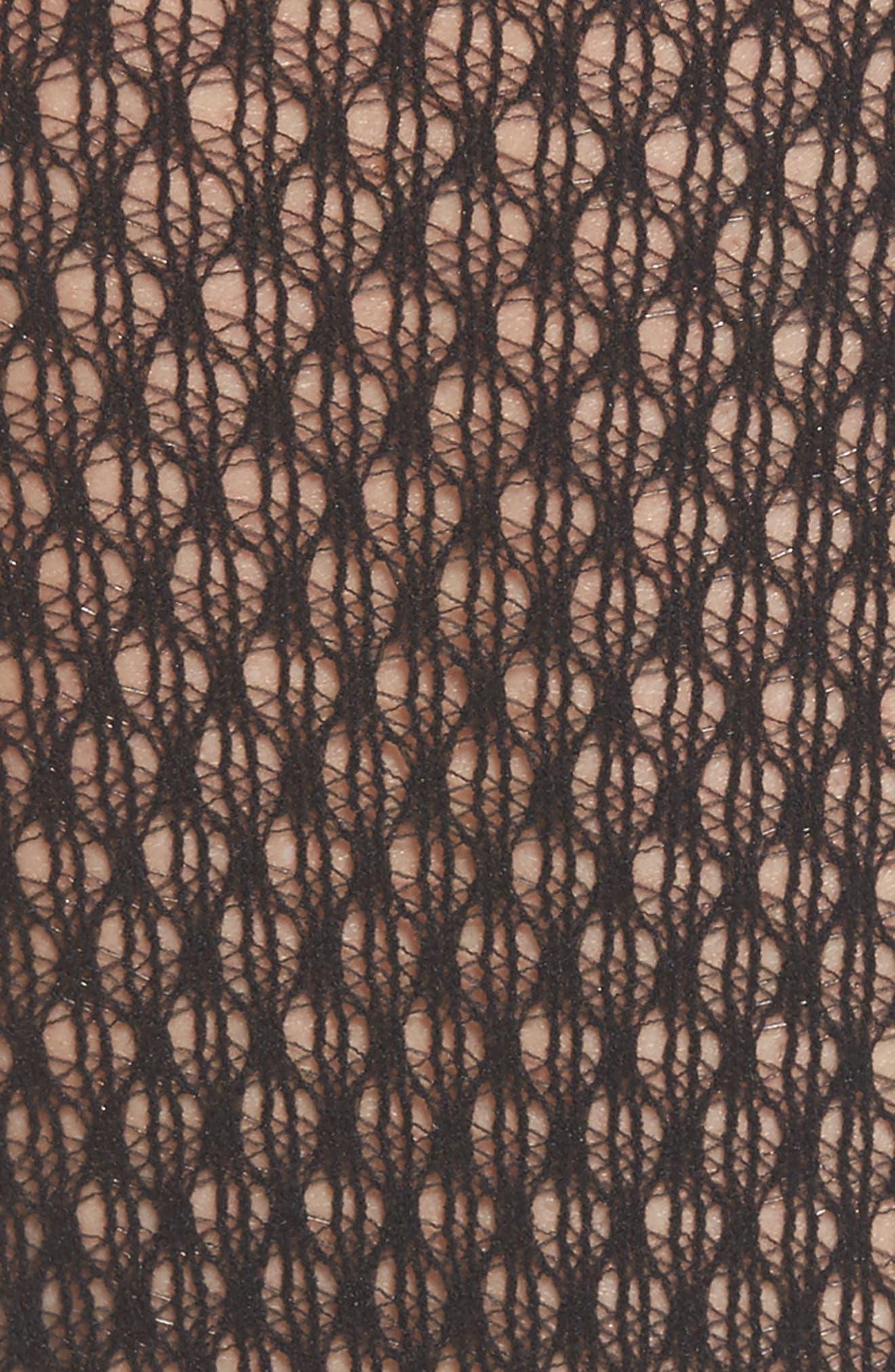 Rhomb Net Knee High Stockings,                             Alternate thumbnail 3, color,                             Black