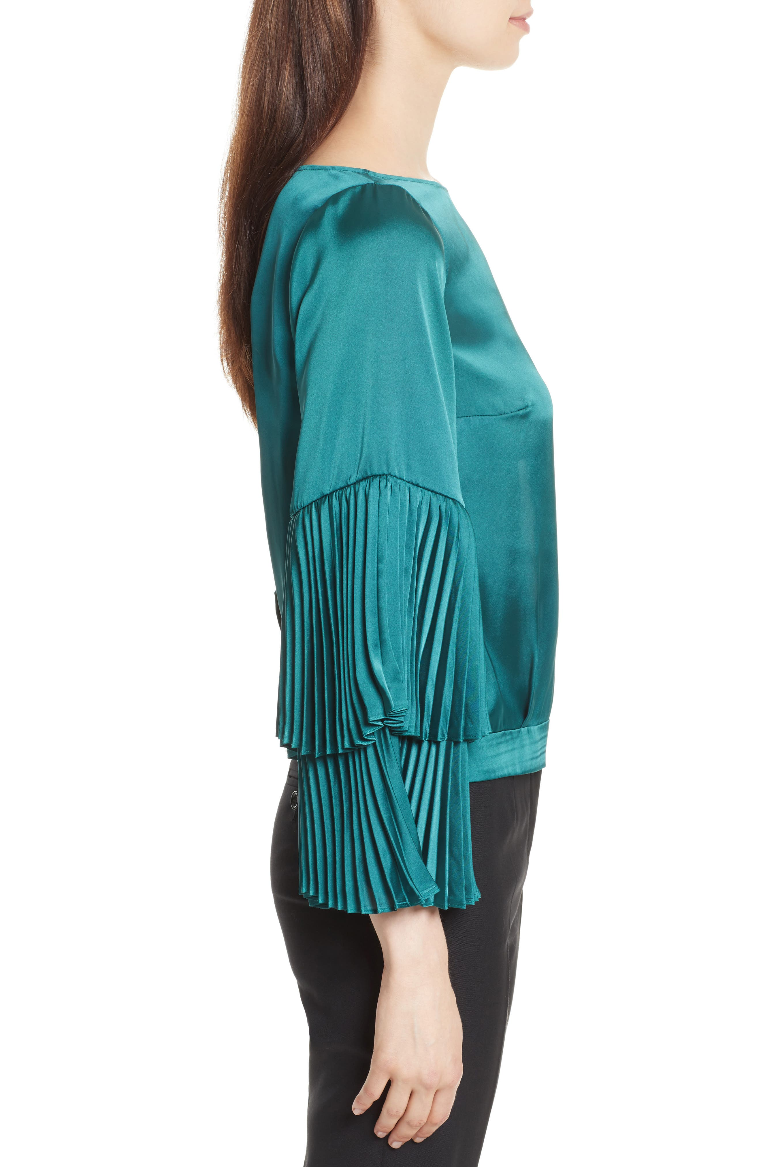 Pleated Bell Sleeve Boxy Blouse,                             Alternate thumbnail 3, color,                             Holly