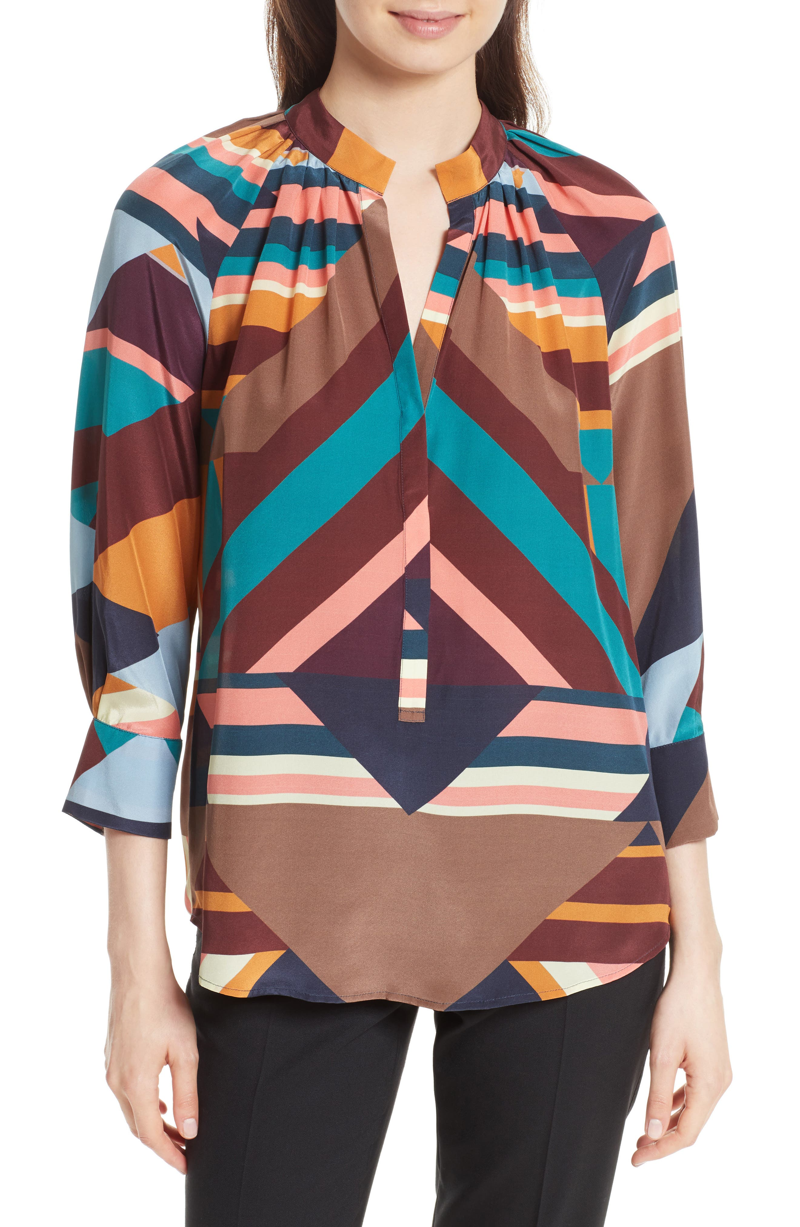 Geometric Print Silk Peasant Blouse,                             Main thumbnail 1, color,                             Geometric Stripe