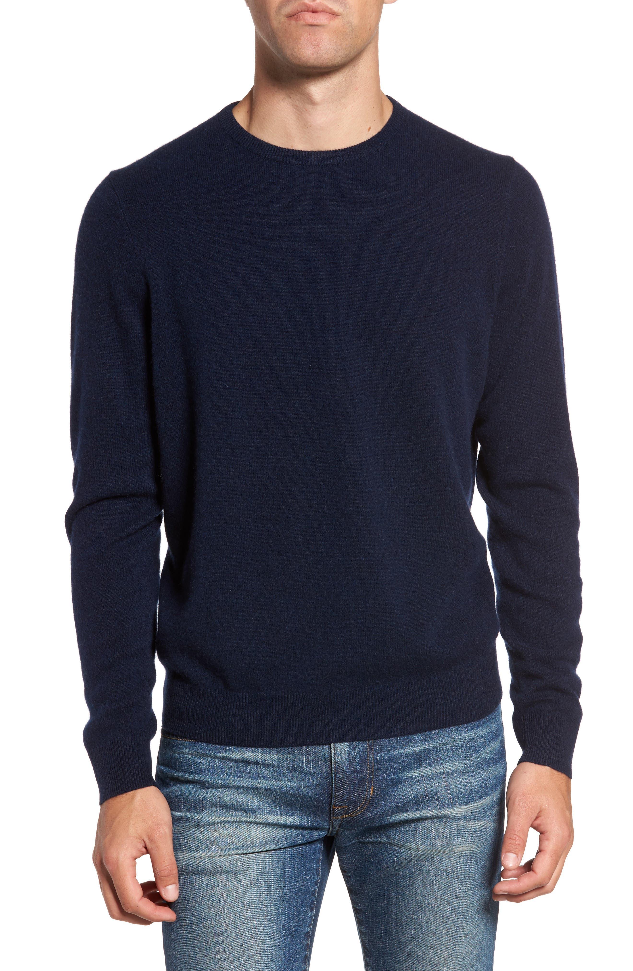 Cashmere Crewneck Sweater,                         Main,                         color, Navy Charcoal