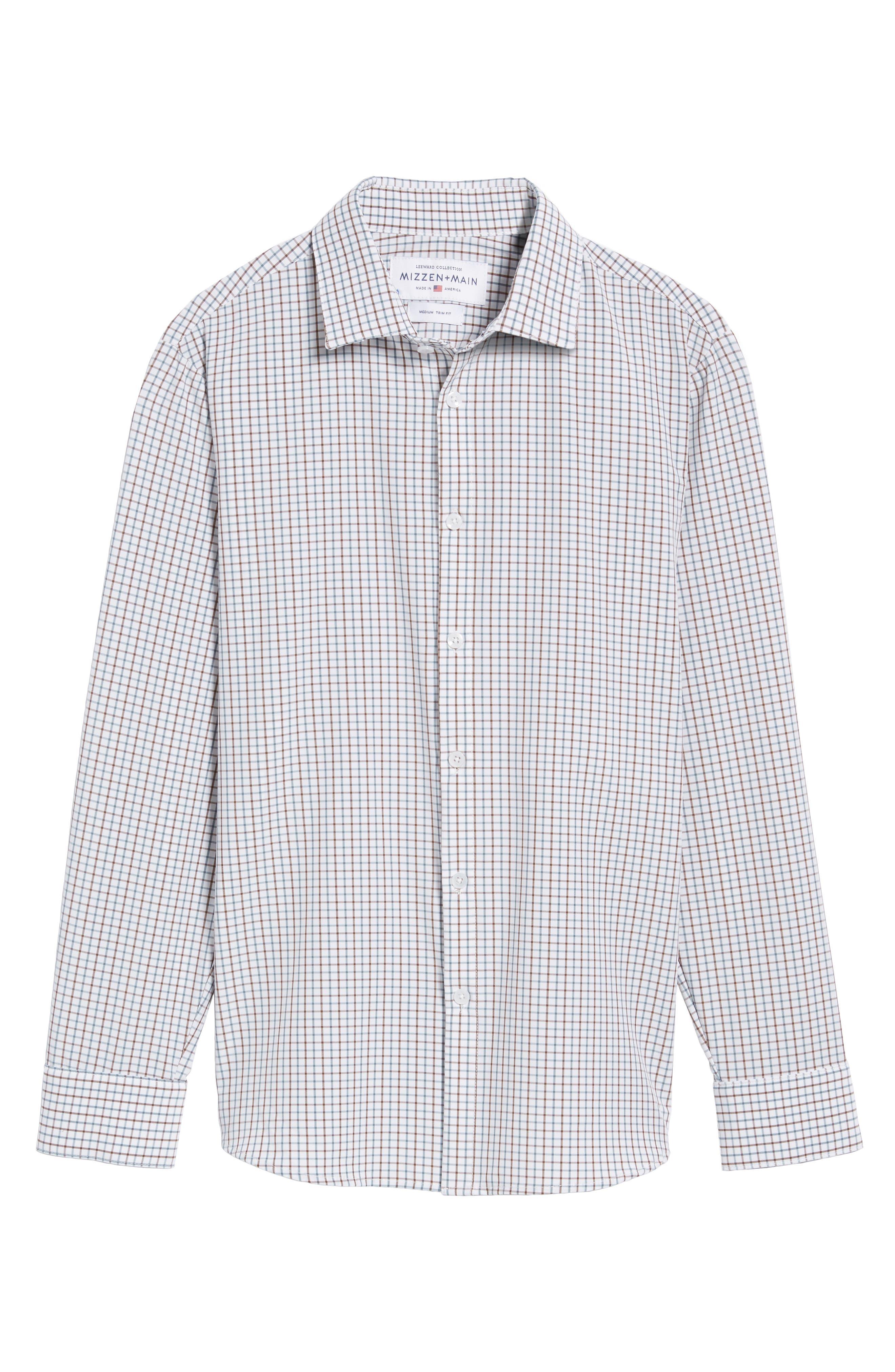 Nolan Slim Fit Tattersall Performance Sport Shirt,                             Alternate thumbnail 6, color,                             White