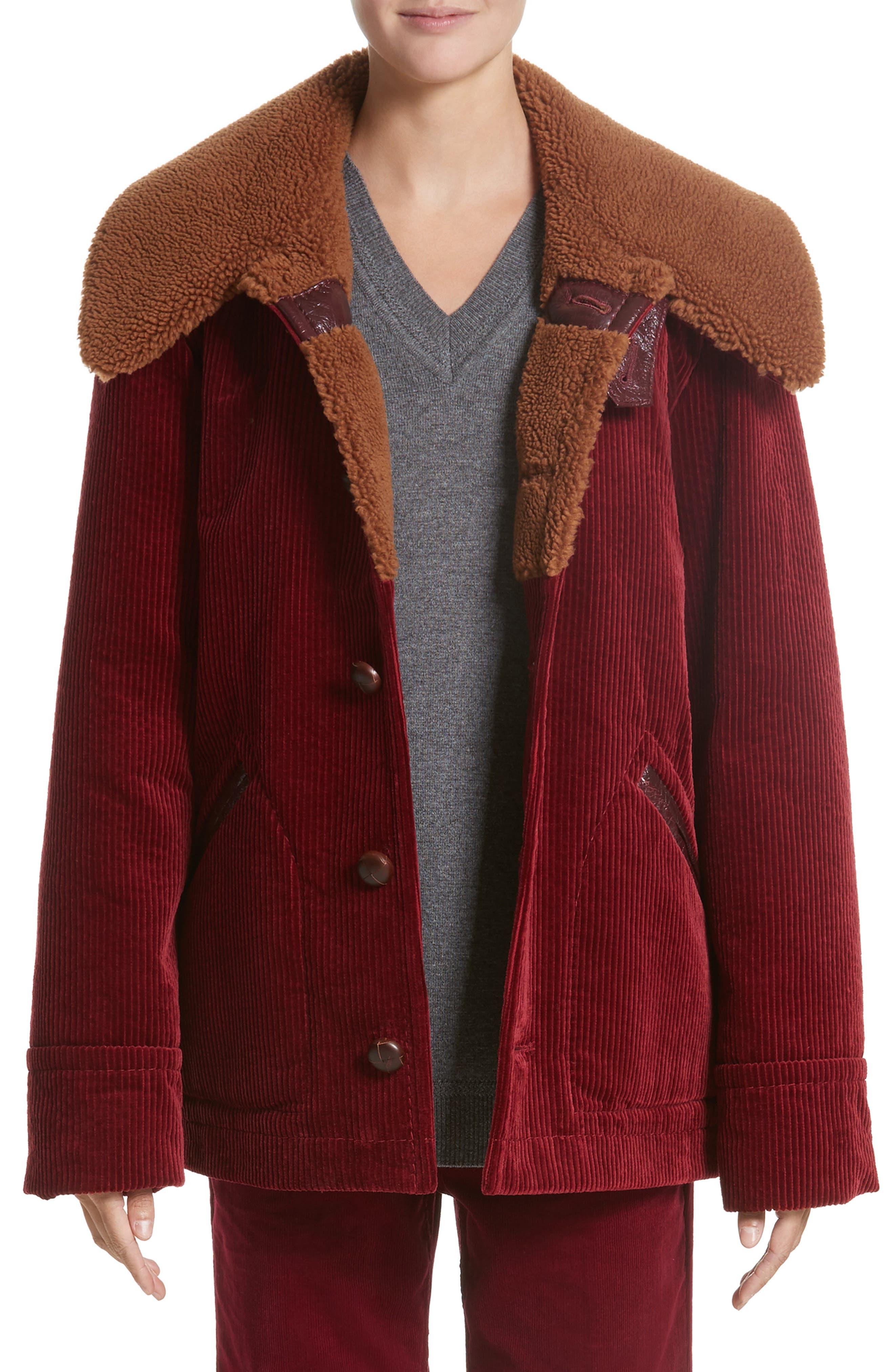Corduroy Coat with Faux Shearling Collar,                             Main thumbnail 1, color,                             Bordeaux