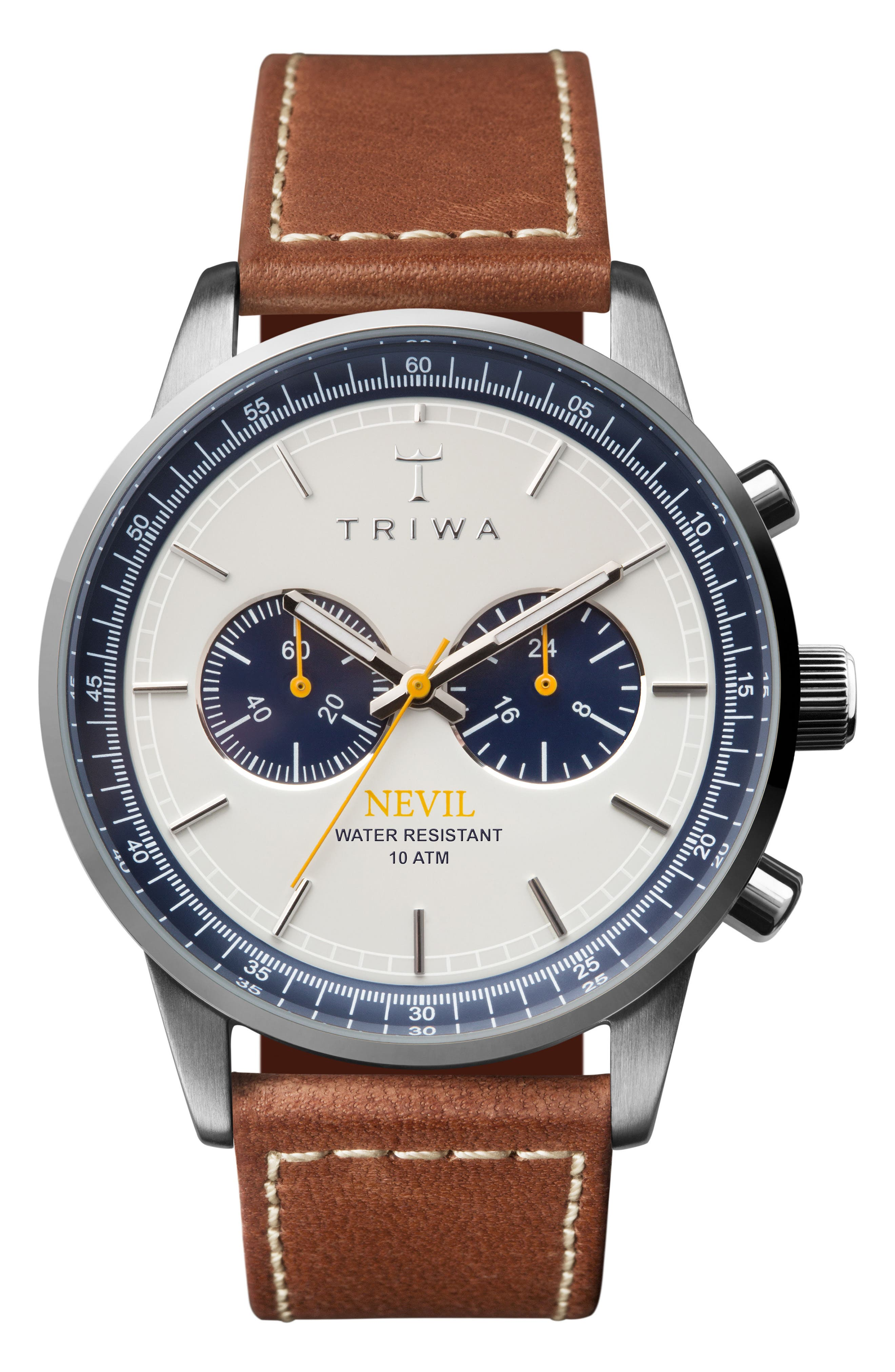 Ocean Nevil Chronograph Leather Strap Watch, 42mm,                         Main,                         color, Tan/ White/ Silver