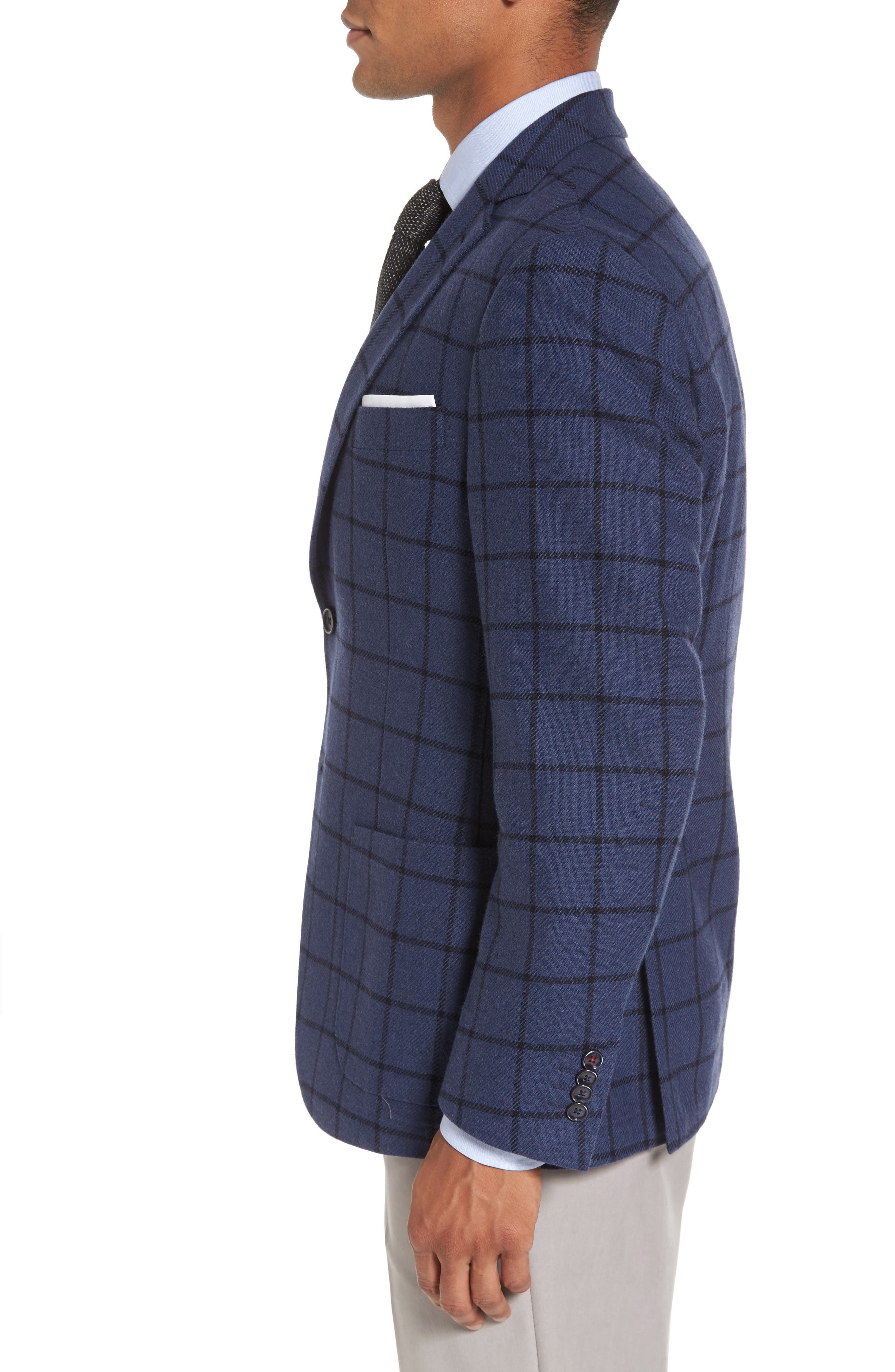 Alternate Image 3  - JKT New York Trim Fit Windowpane Wool Blend Sport Coat