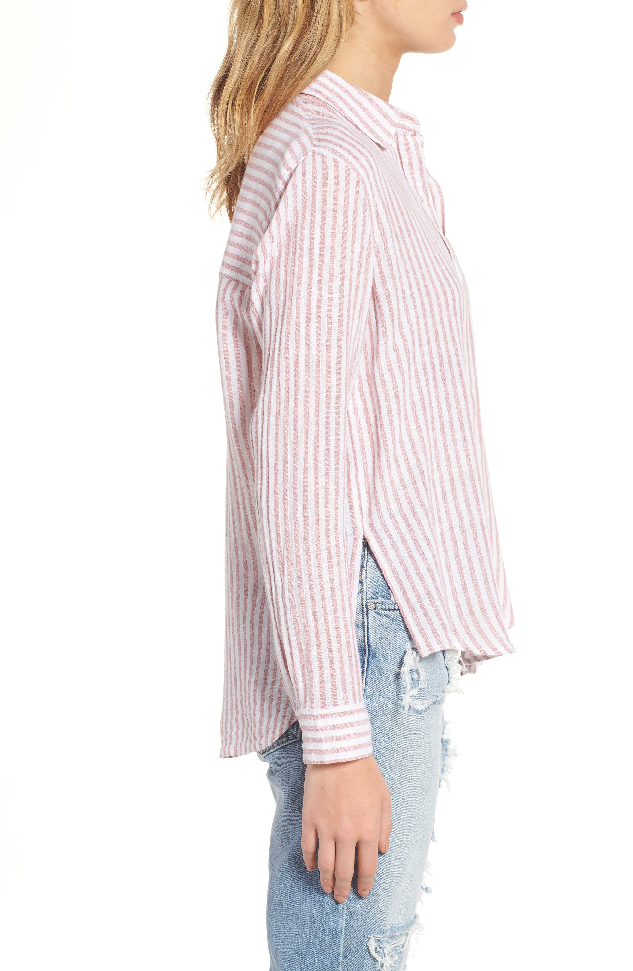 Sydney Stripe Linen Blend Shirt,                             Alternate thumbnail 3, color,                             Florence Stripe
